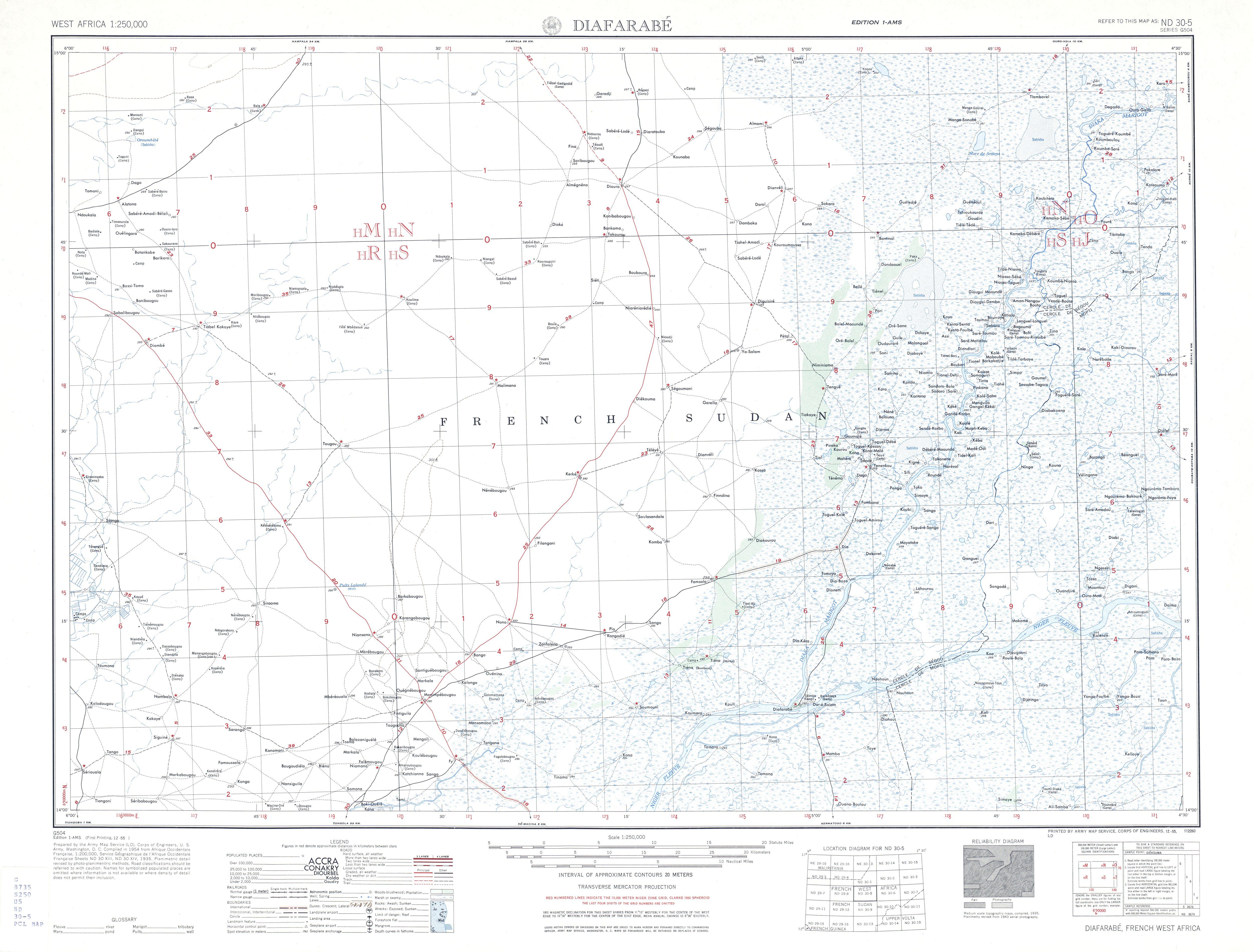 Hoja Diafarabe del Mapa Topográfico de África Occidental 1955