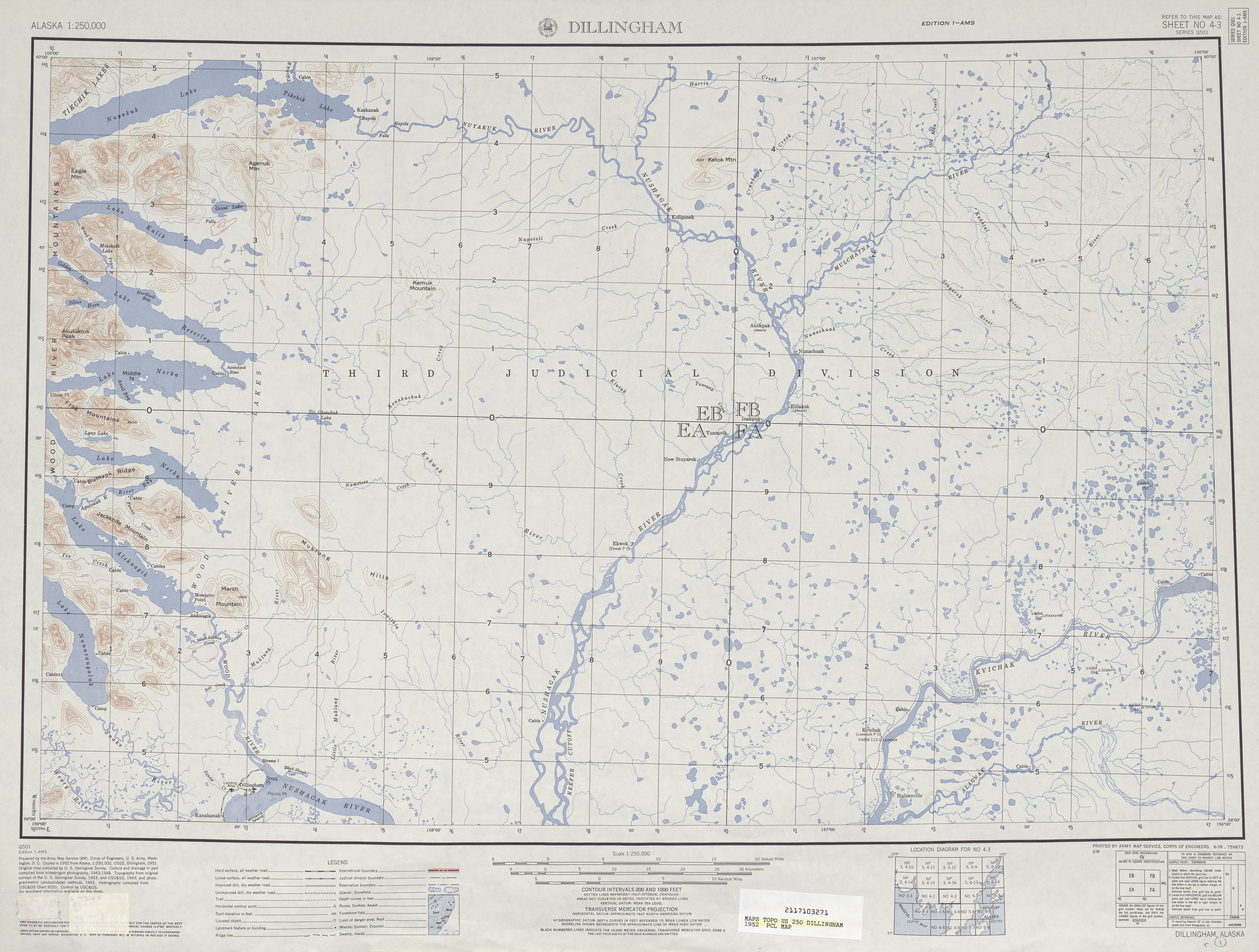 Dillingham Topographic Map Sheet, United States 1952
