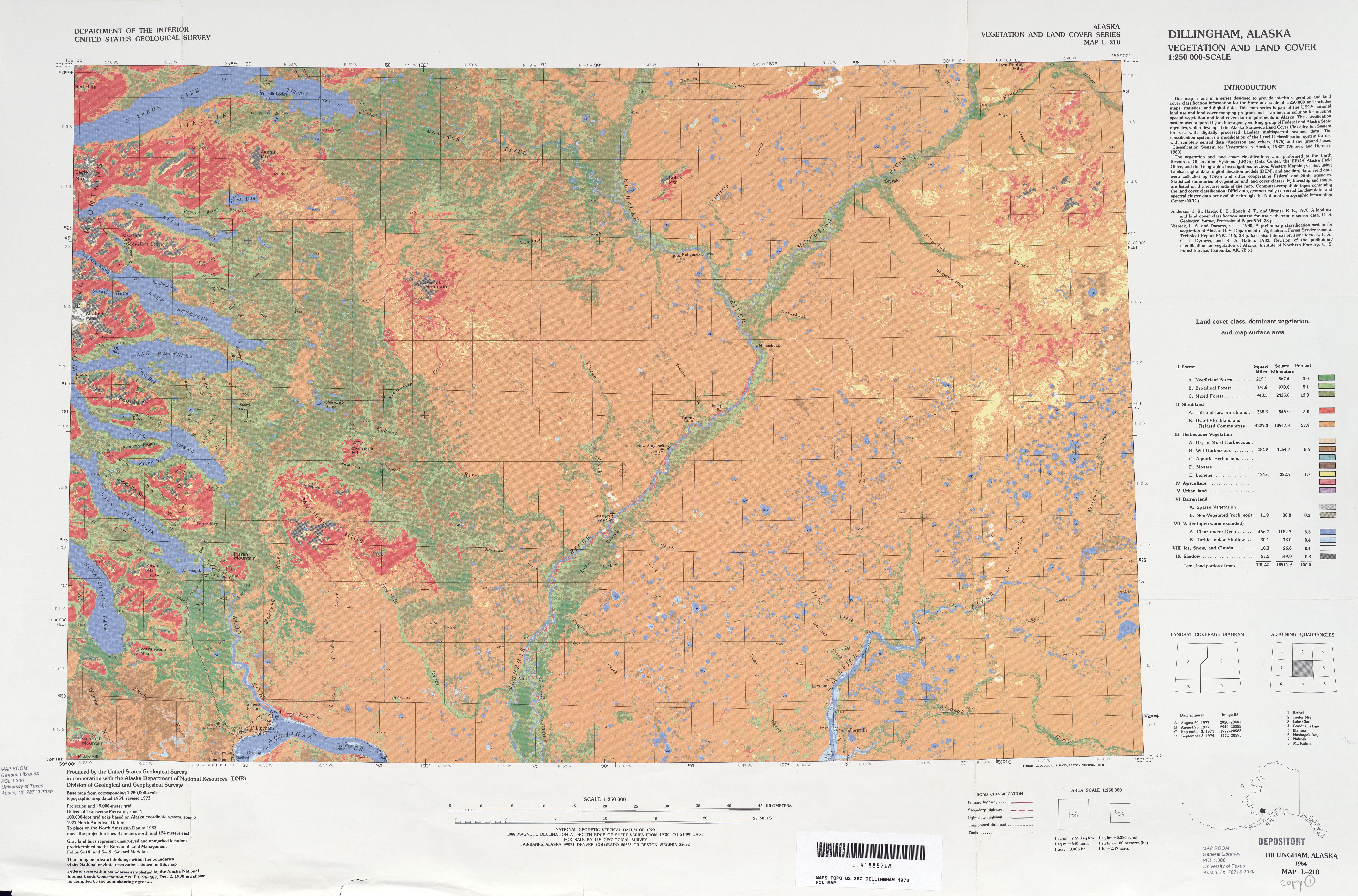 Hoja Dillingham del Mapa de Vegetación y Cubierta Terrestre de los Estados Unidos 1973