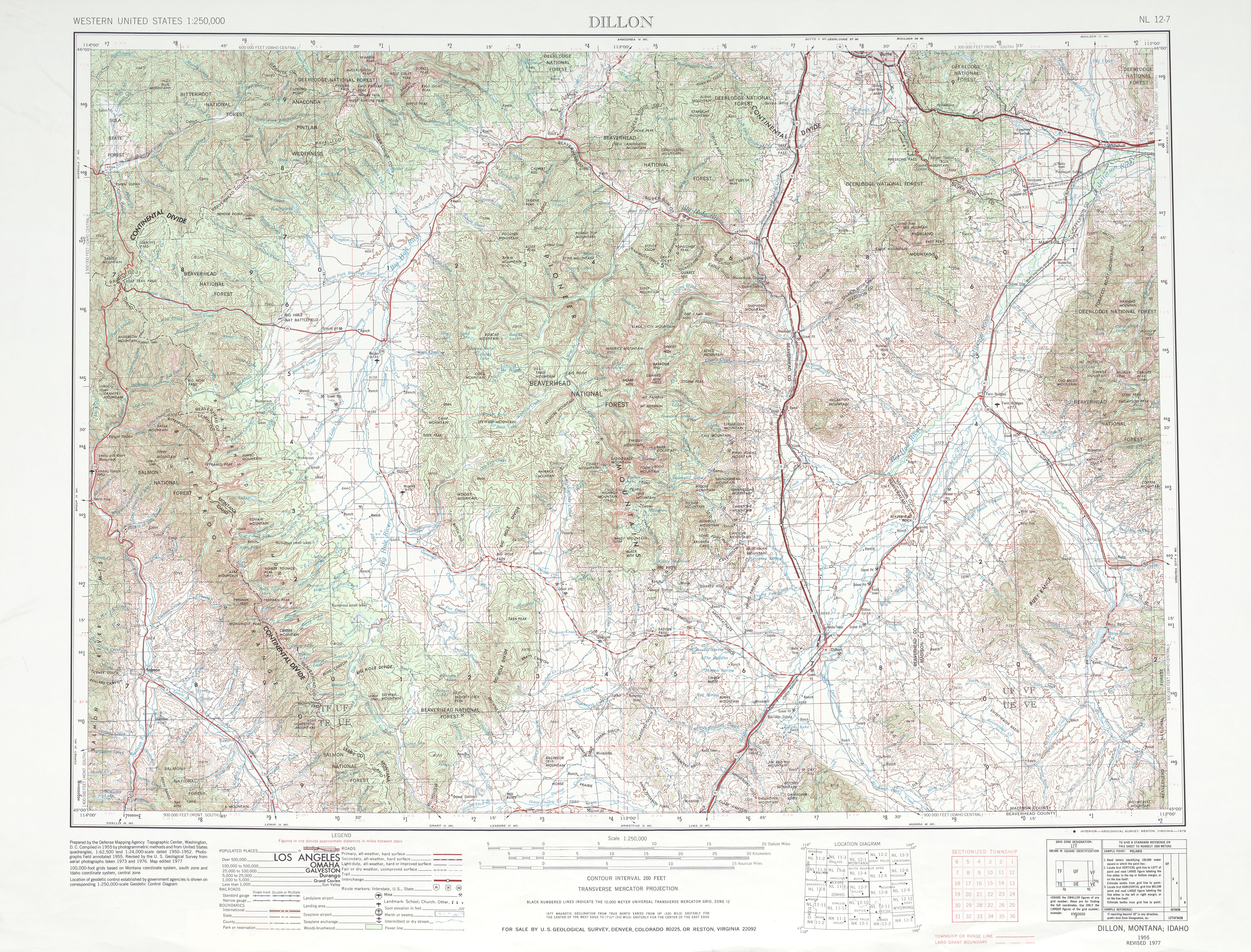 Hoja Dillon del Mapa Topográfico de los Estados Unidos 1985