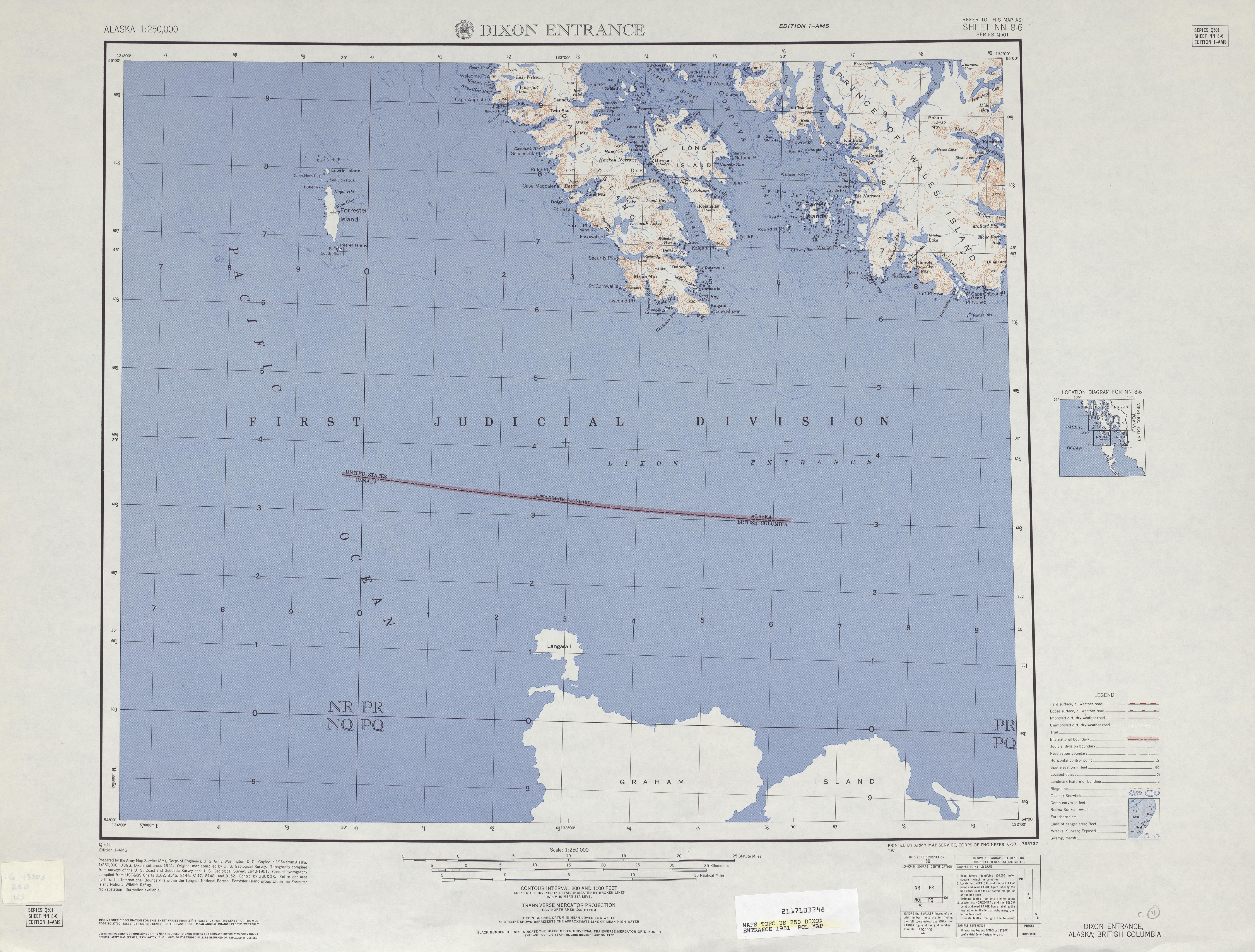 Hoja Dixon Entrance del Mapa Topográfico de los Estados Unidos 1951