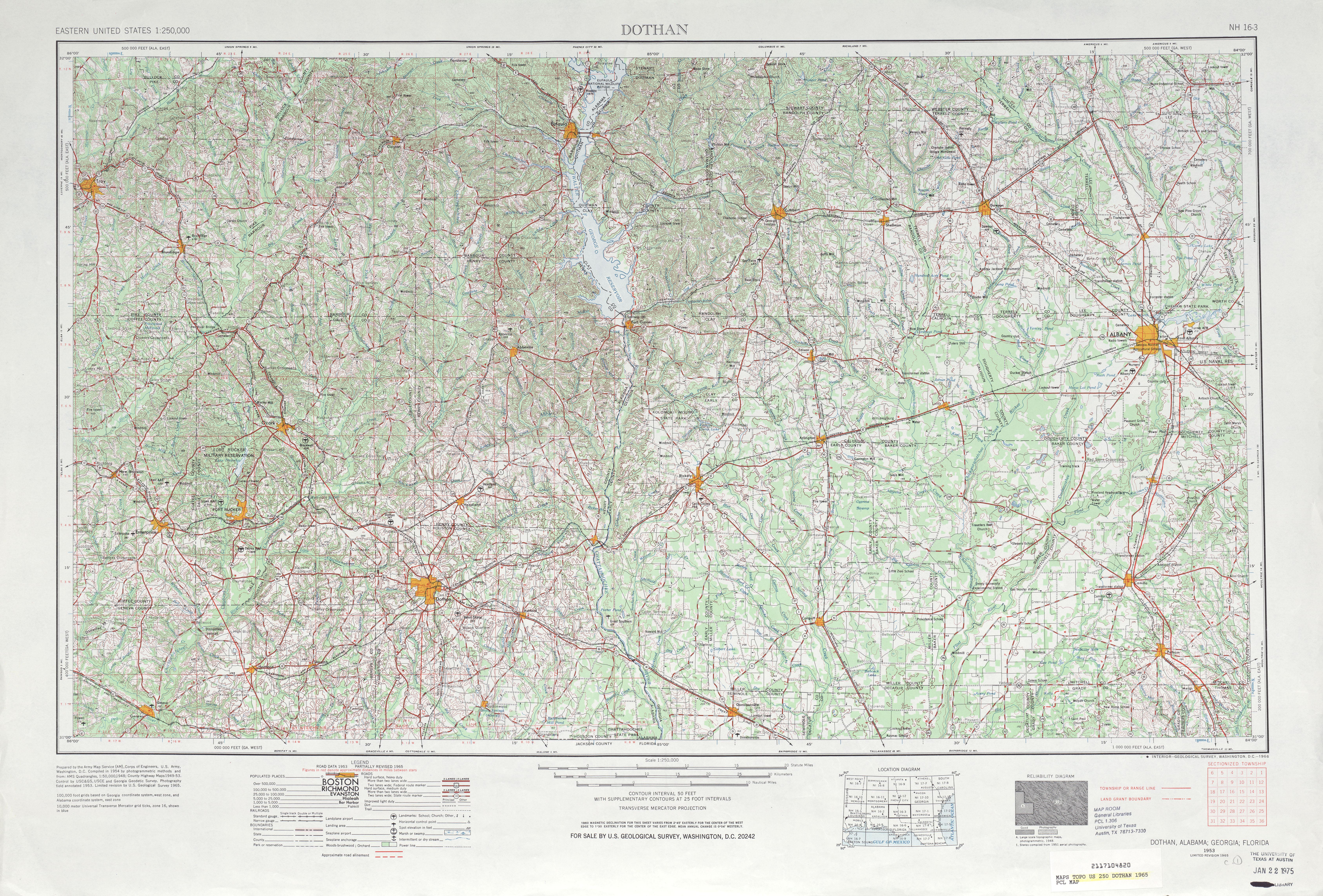 Hoja Dothan del Mapa Topográfico de los Estados Unidos 1965