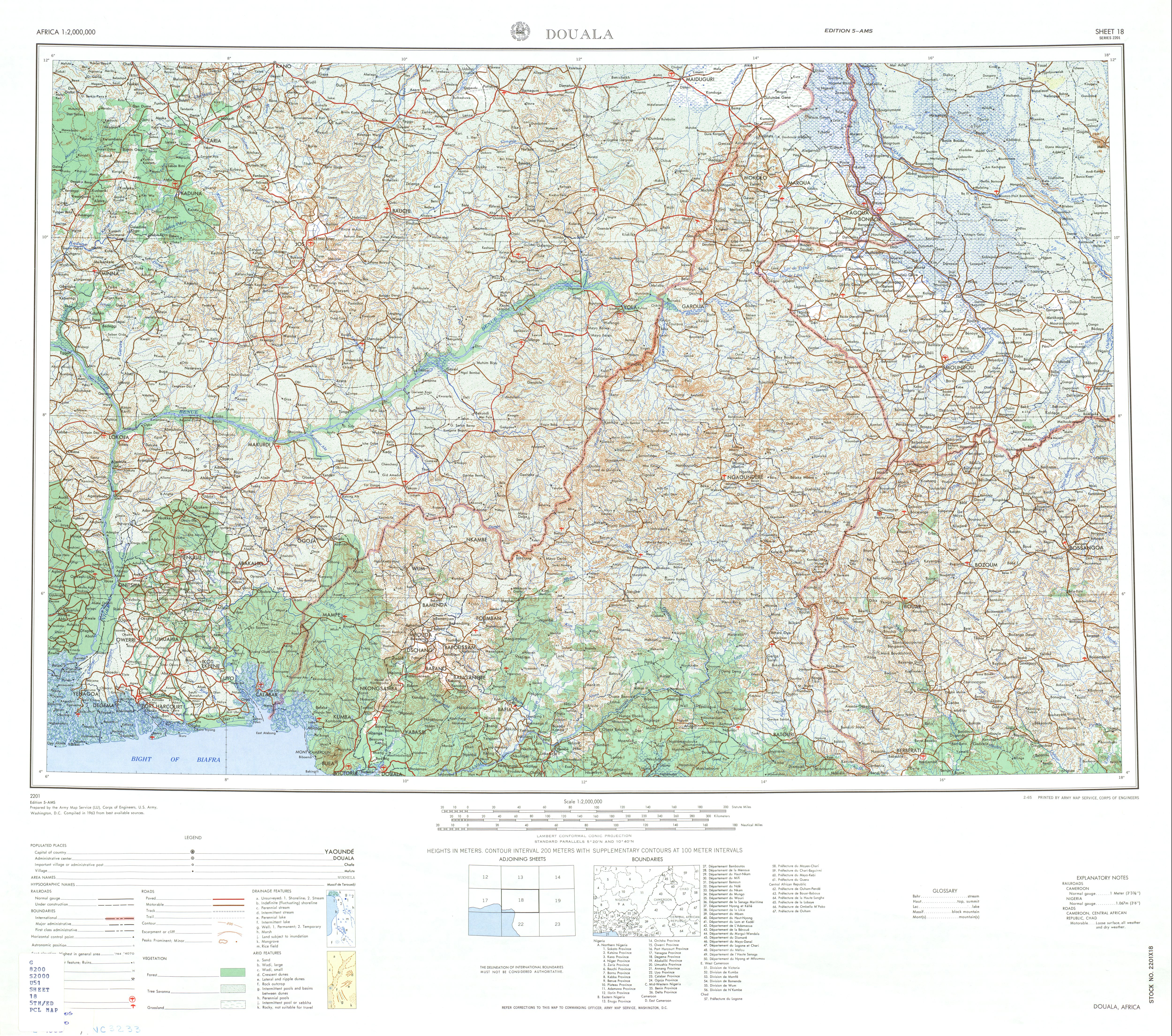 Douala Topographic Sheet Map, Africa 1963