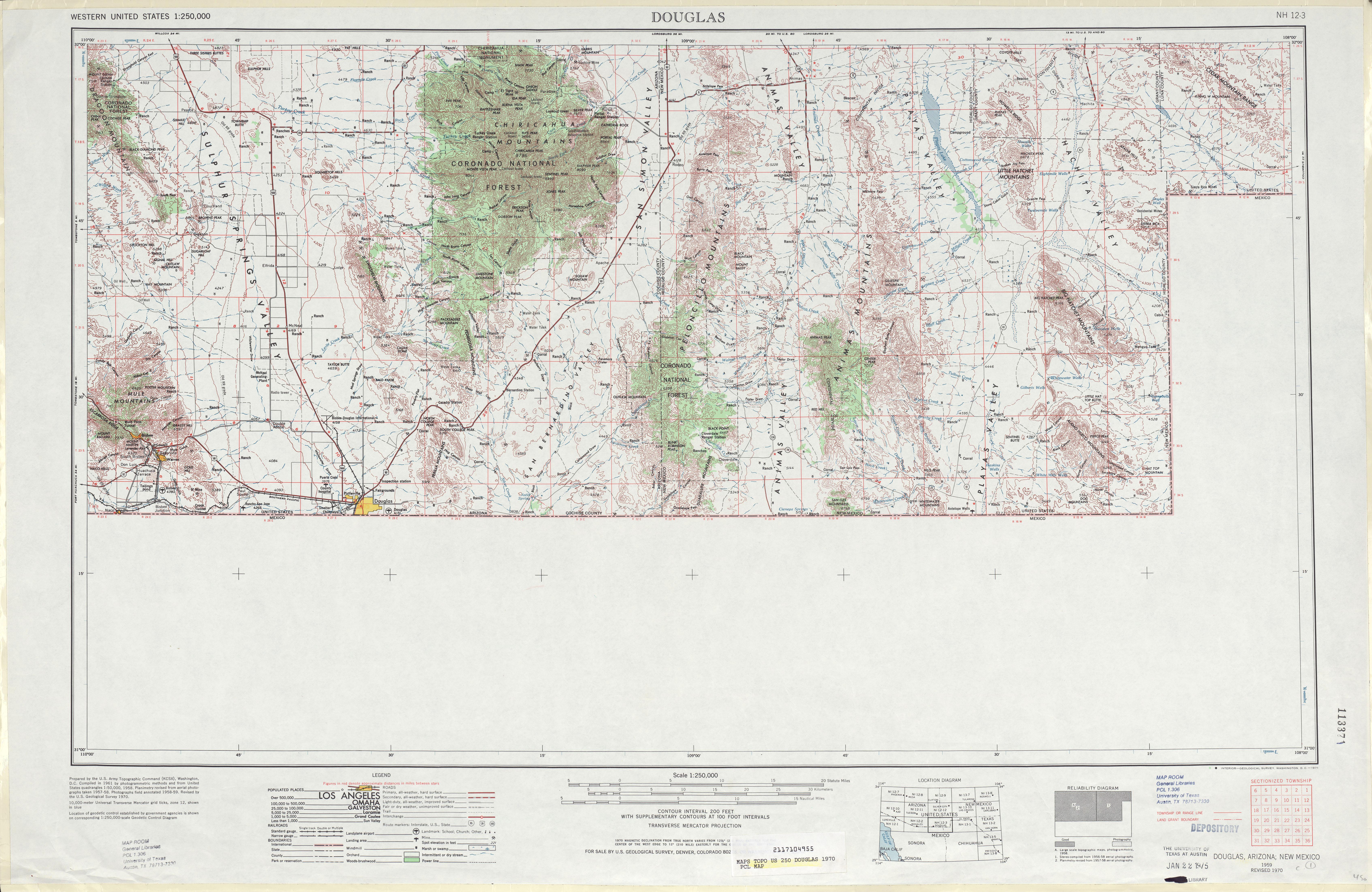 Hoja Douglas del Mapa Topográfico de los Estados Unidos 1970