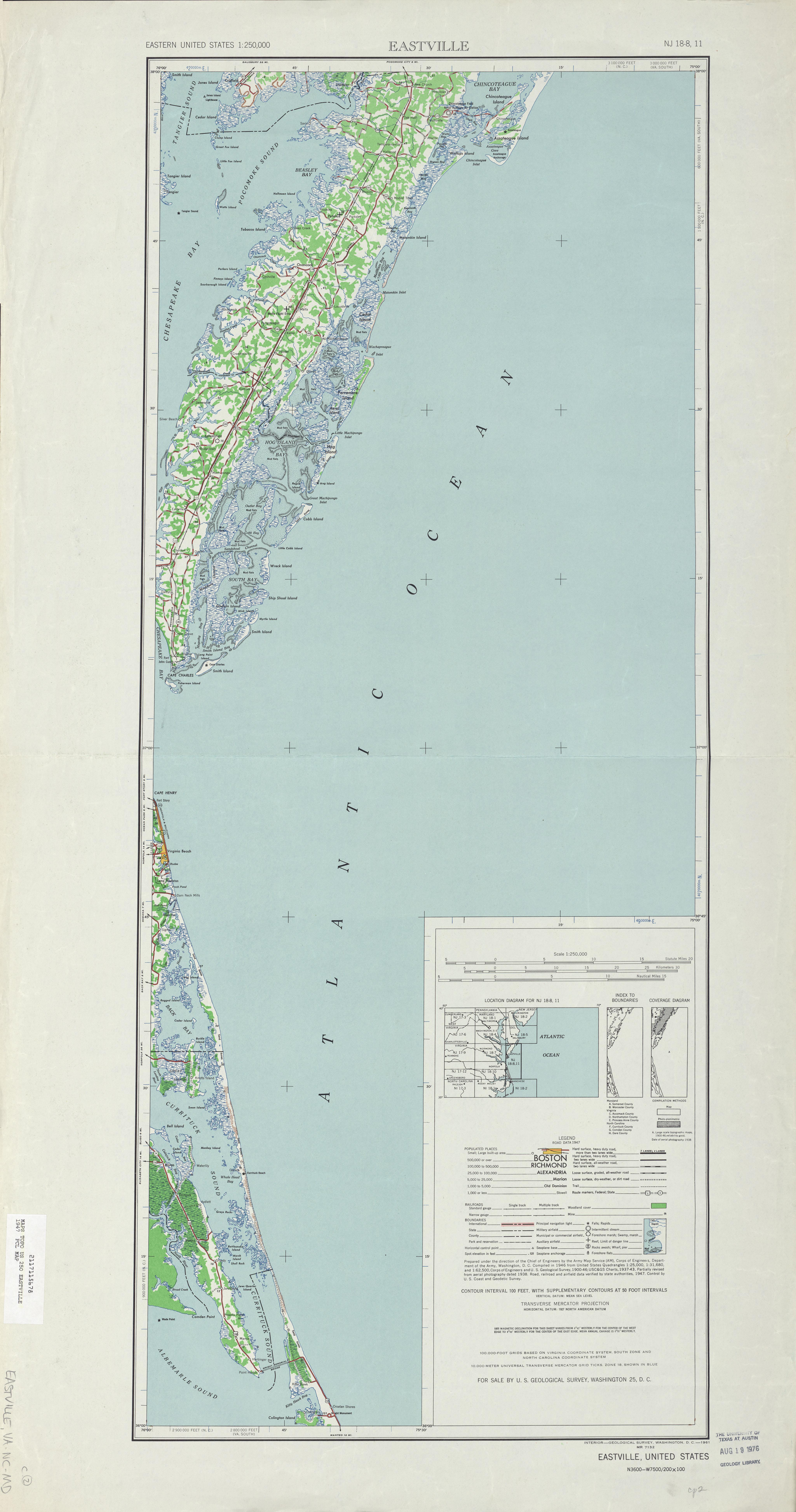 Hoja Eastville del Mapa Topográfico de los Estados Unidos 1947