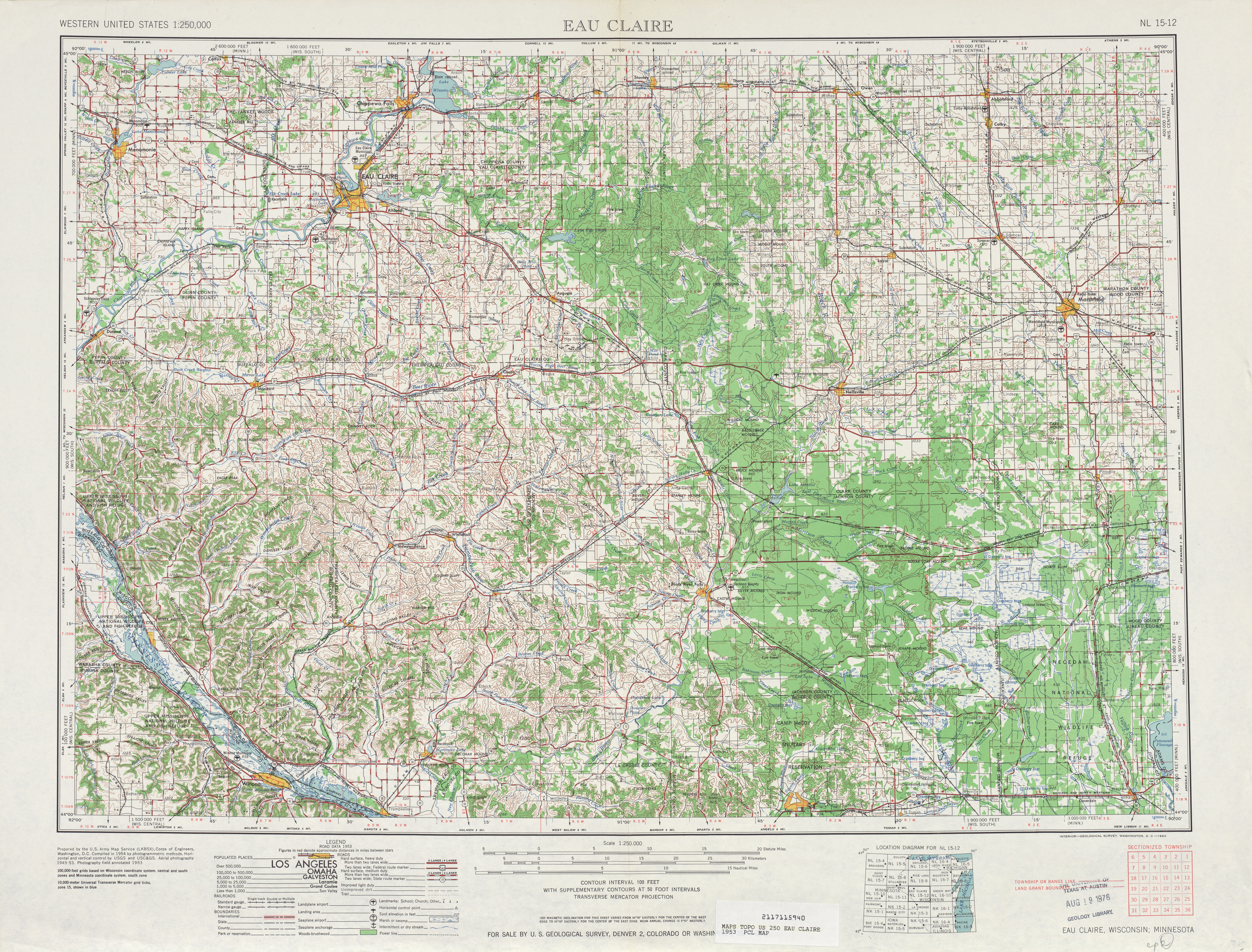 Eau Claire Topographic Map Sheet, United States 1953