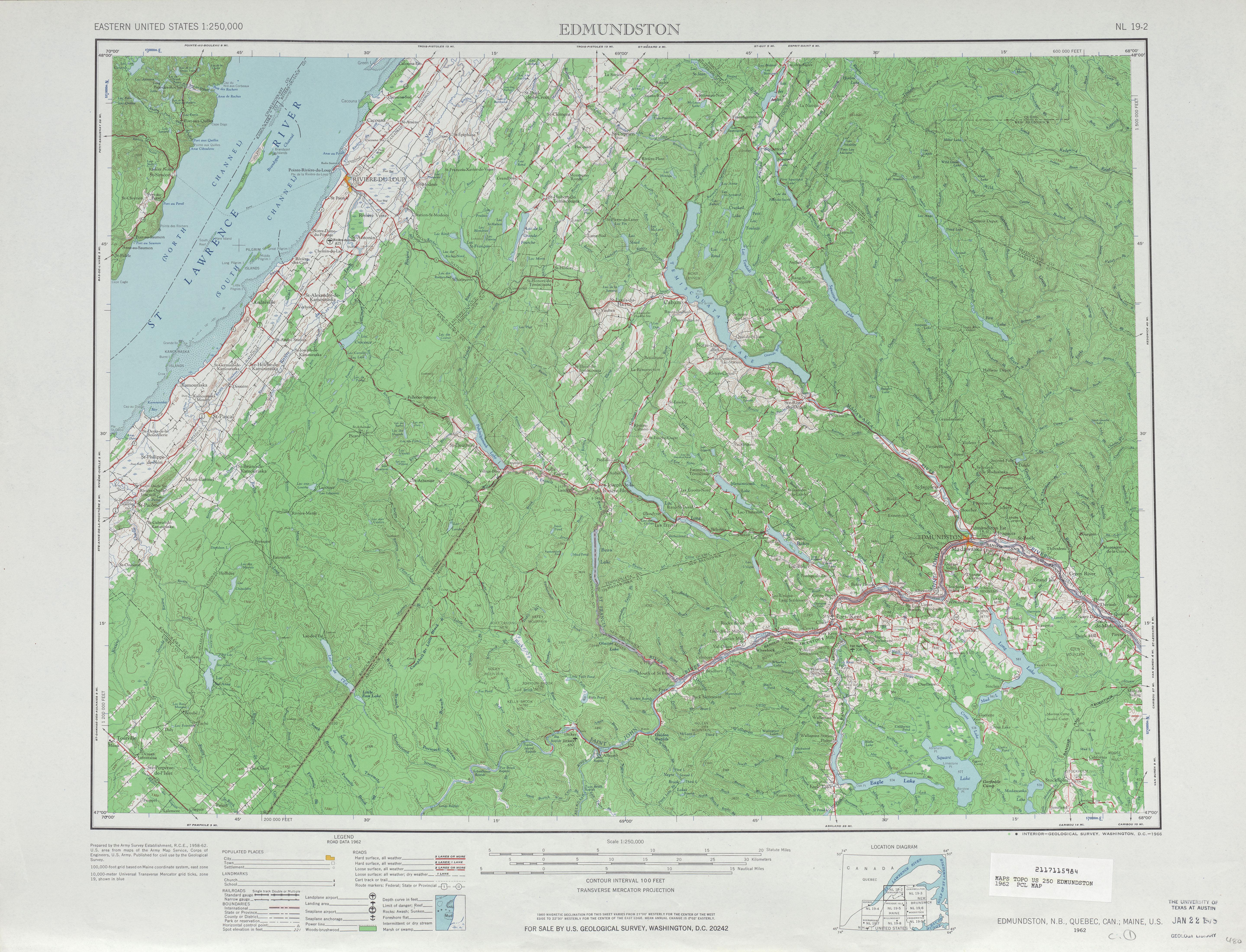 Edmundston Topographic Map Sheet, United States 1962