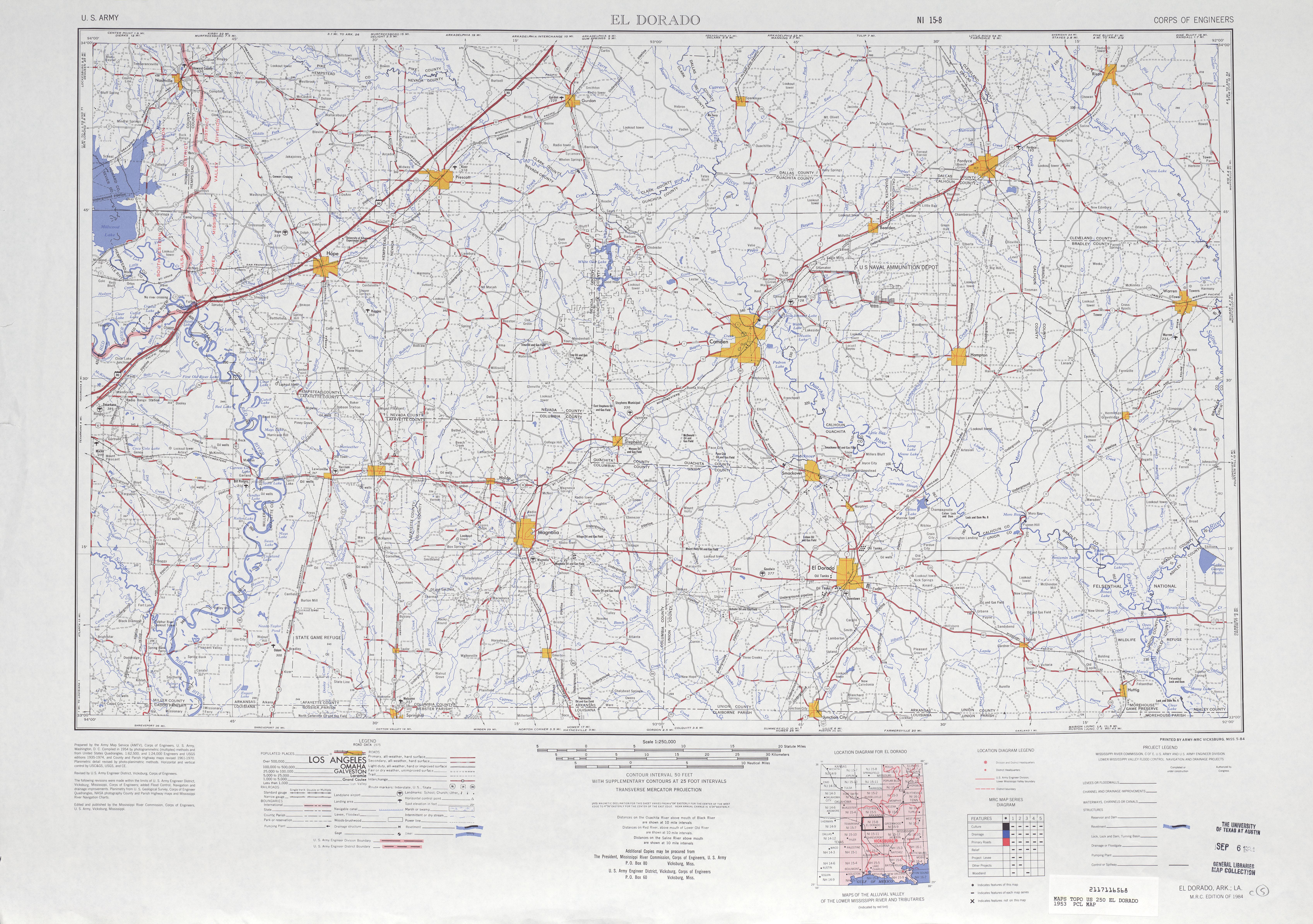 Hoja El Dorado del Mapa Topográfico de los Estados Unidos 1953