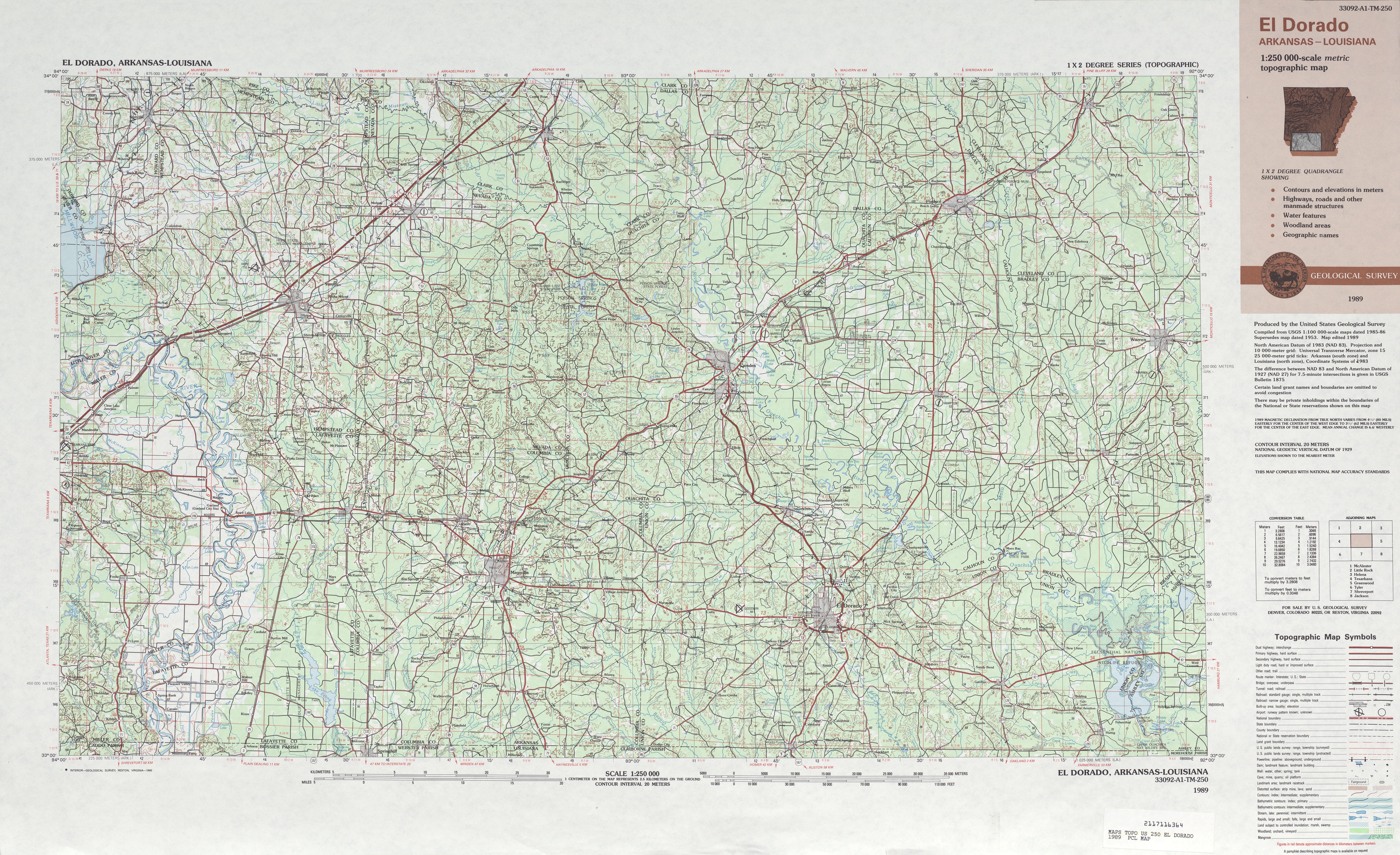 Hoja El Dorado del Mapa Topográfico de los Estados Unidos 1989