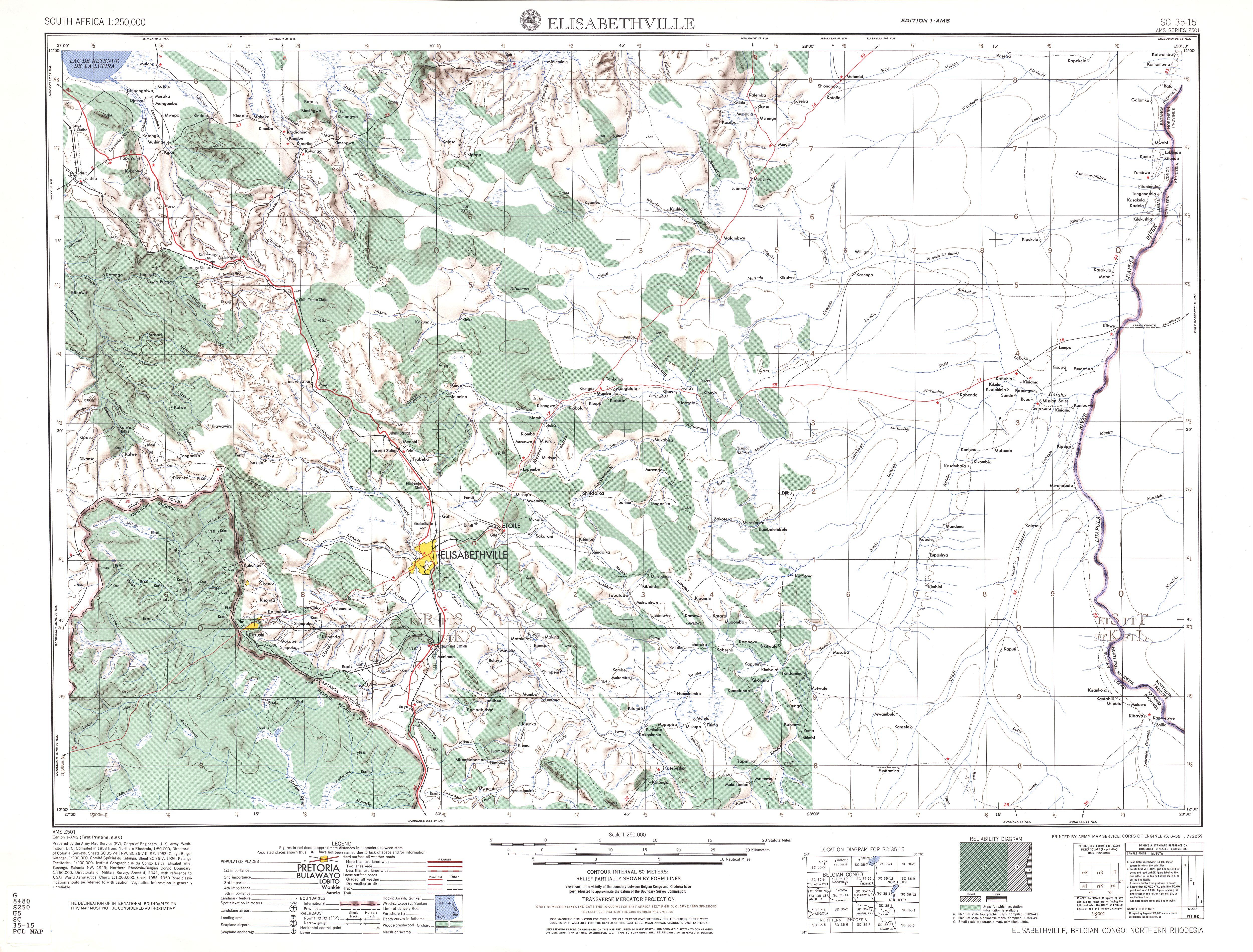 Elisabethville Topographic Map Sheet, Southern Africa 1954