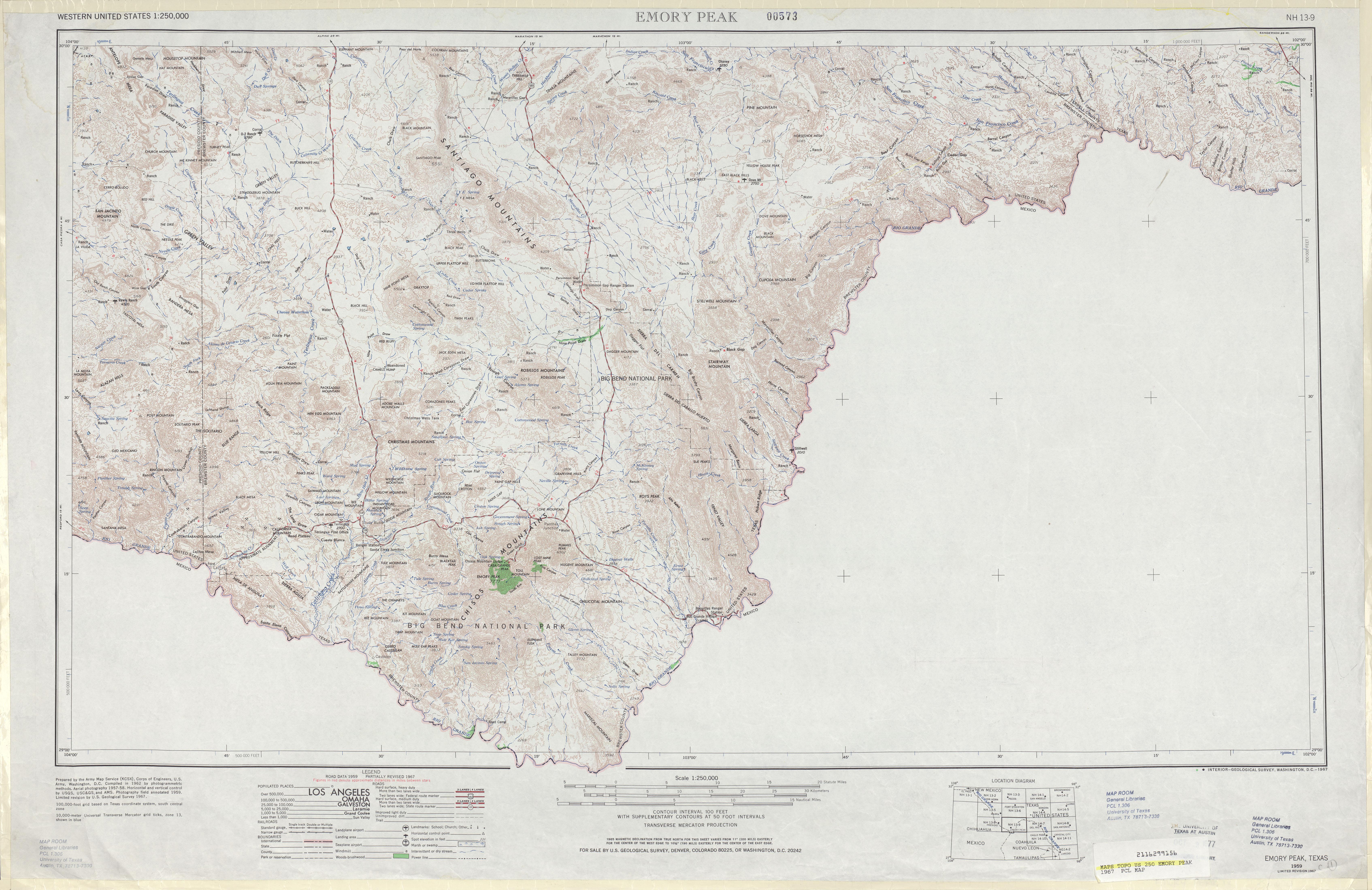 Hoja Emory Peak del Mapa Topográfico de los Estados Unidos 1967