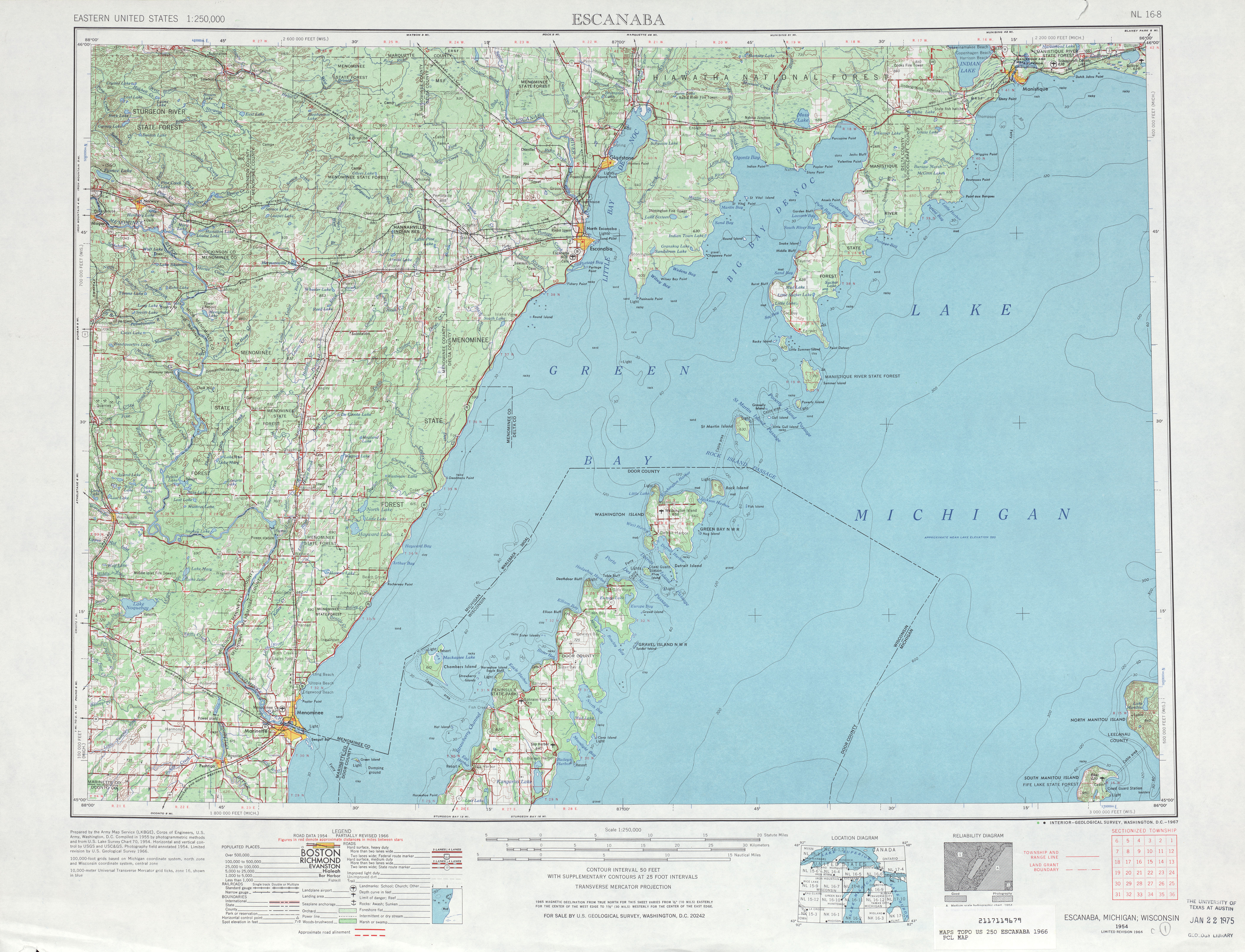 Escanaba Topographic Map Sheet, United States 1966