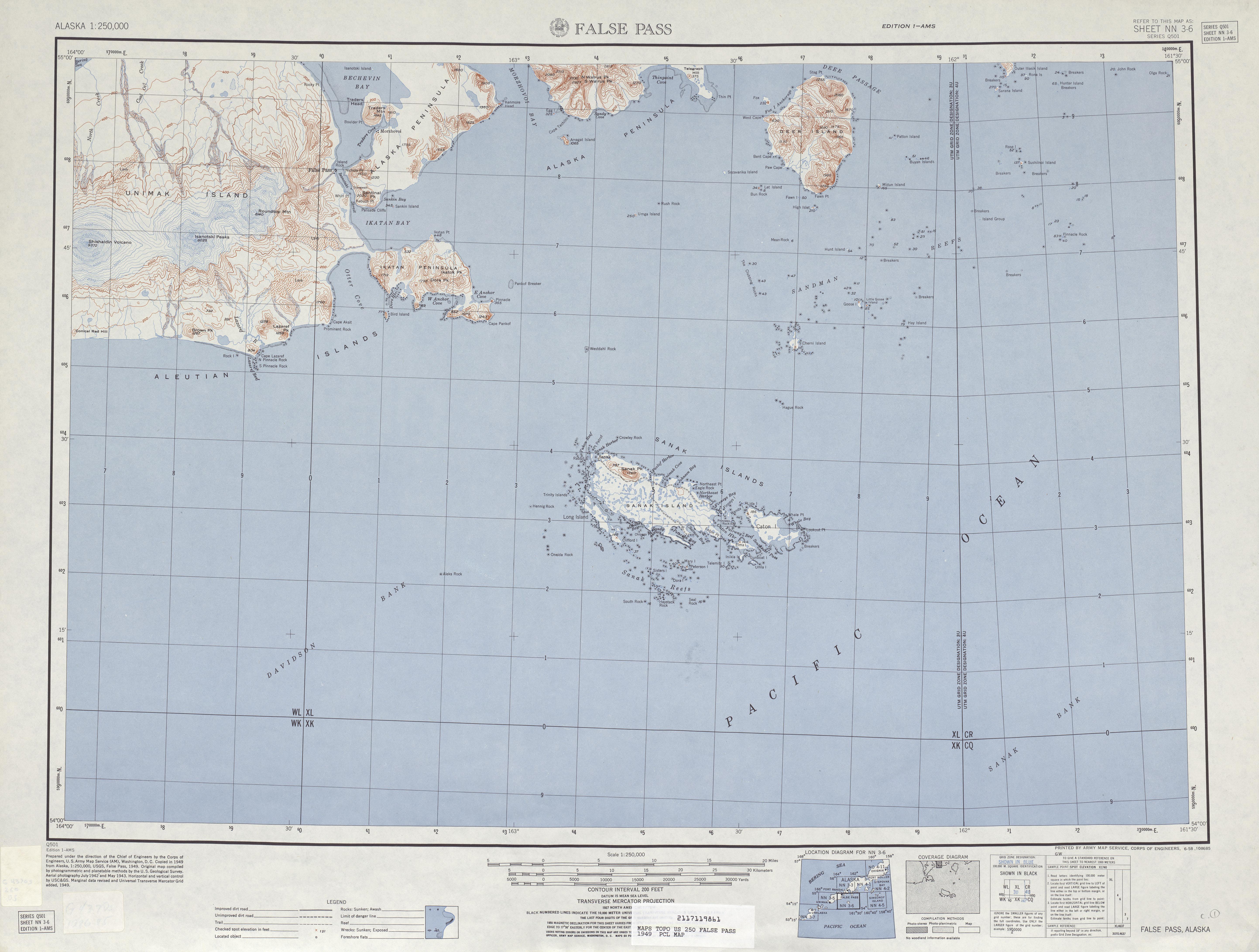 Hoja False Pass del Mapa Topográfico de los Estados Unidos 1949