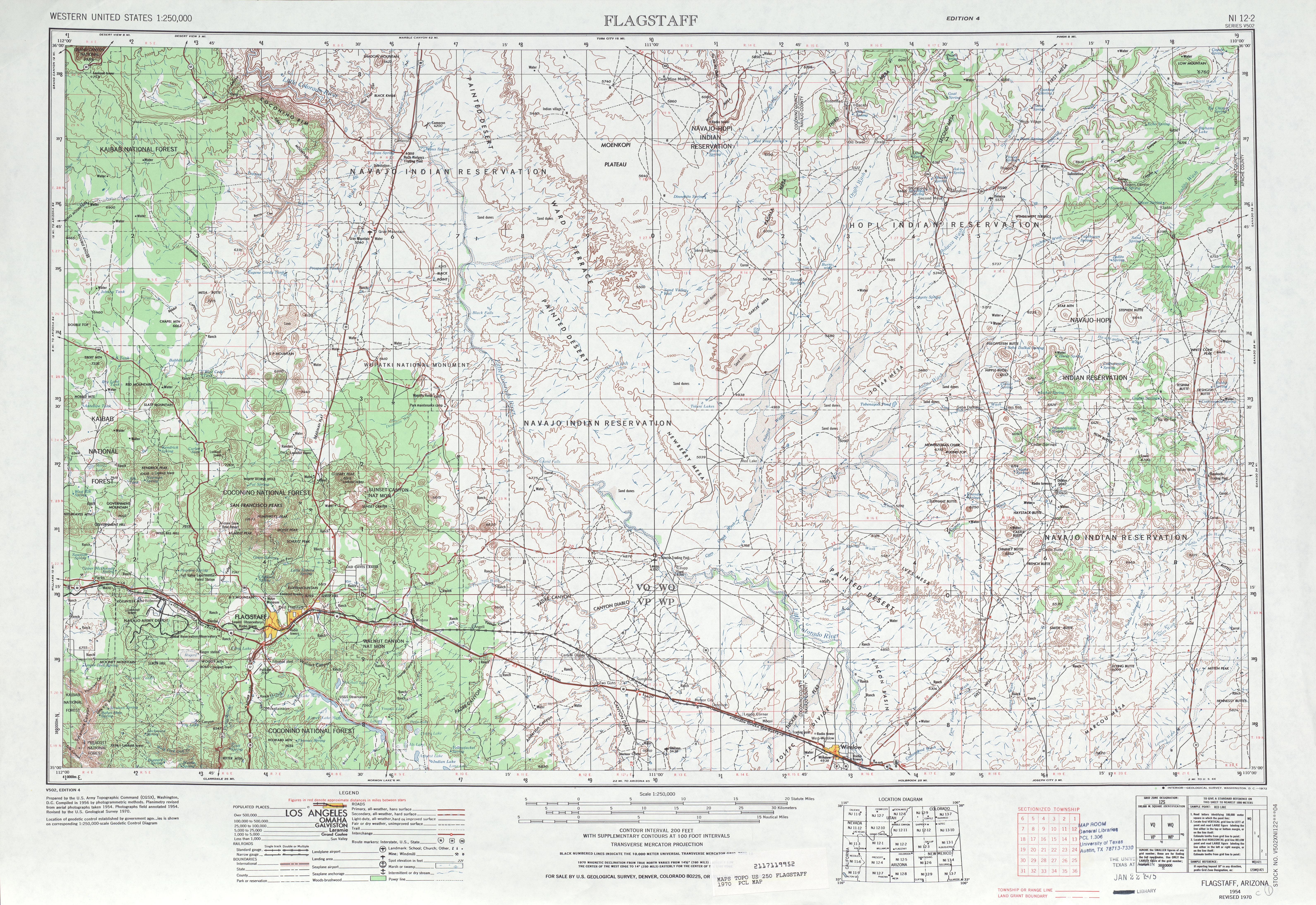 Flagstaff Topographic Map Sheet, United States 1970