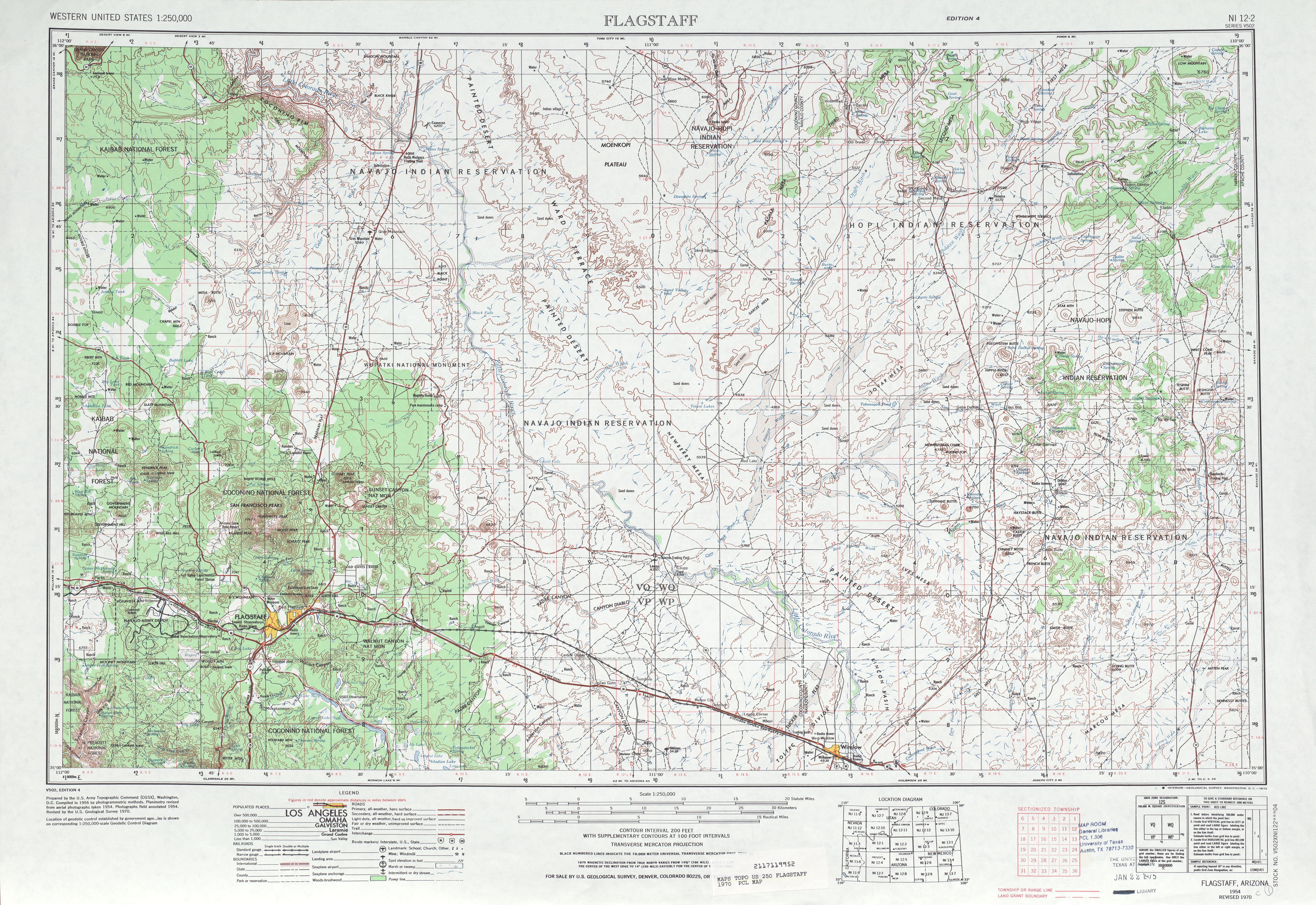 Hoja Flagstaff del Mapa Topográfico de los Estados Unidos 1970