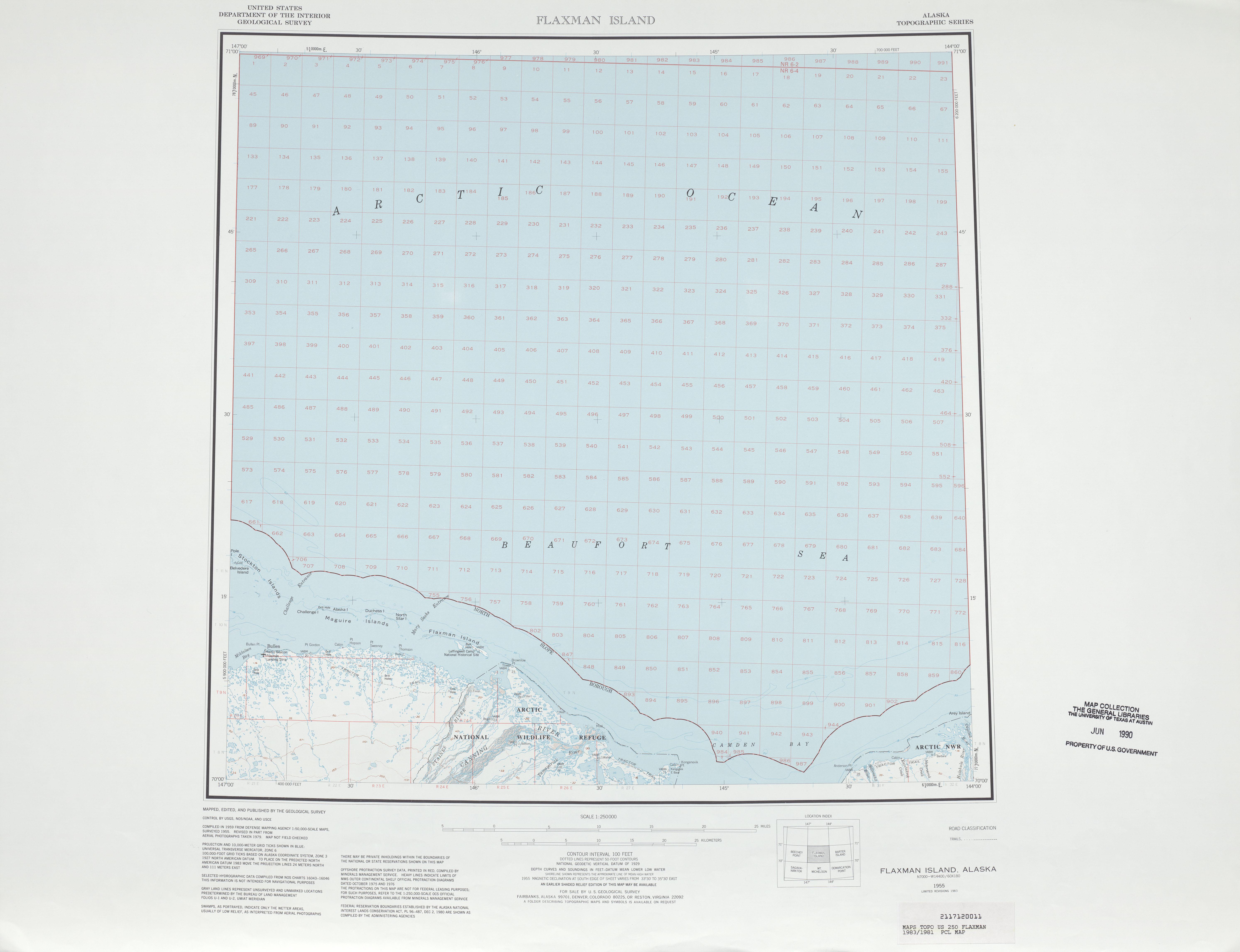 Hoja Flaxman Island del Mapa Topográfico de los Estados Unidos 1981