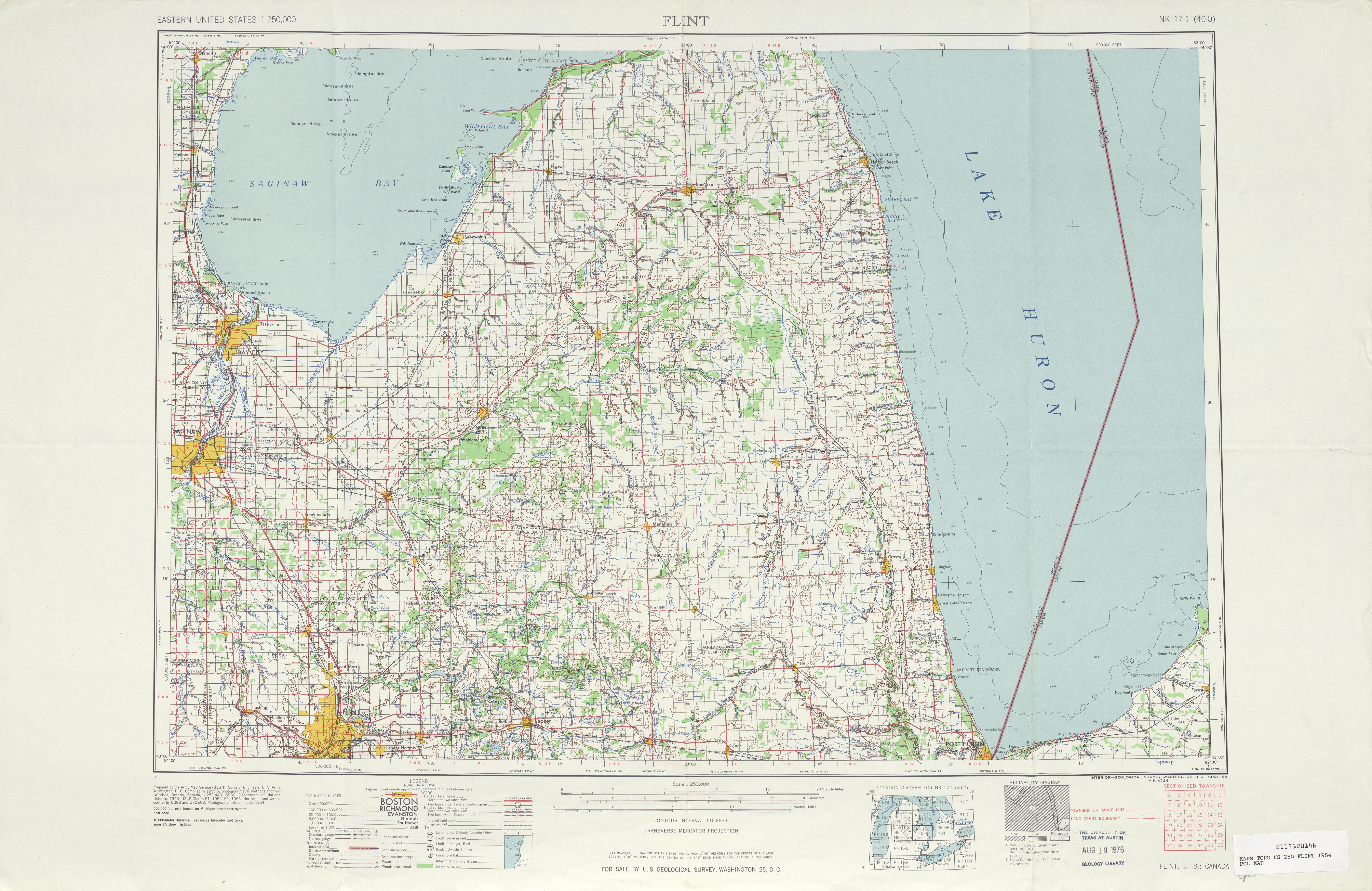 Hoja Flint del Mapa Topográfico de los Estados Unidos 1954