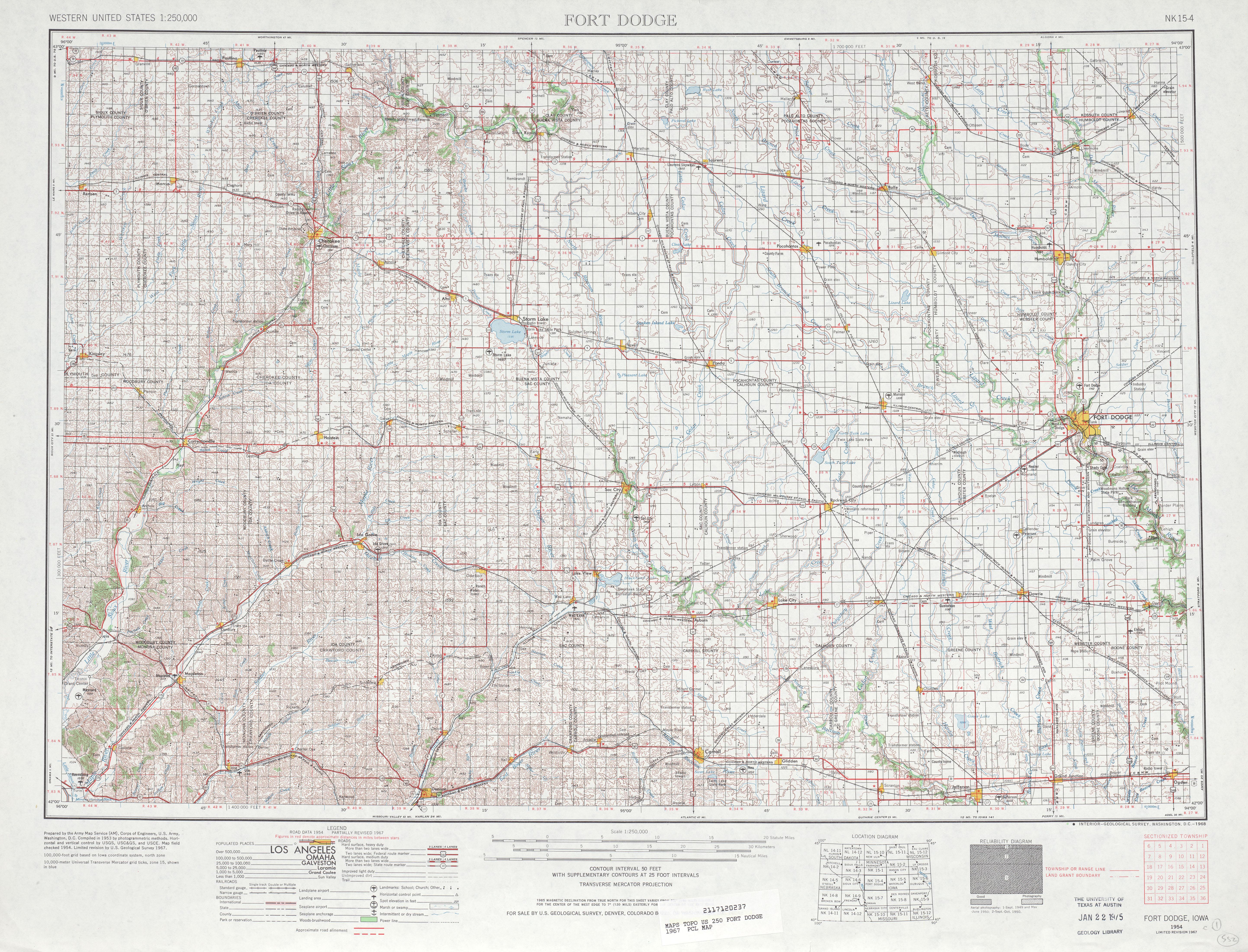 Hoja Fort Dodge del Mapa Topográfico de los Estados Unidos 1967