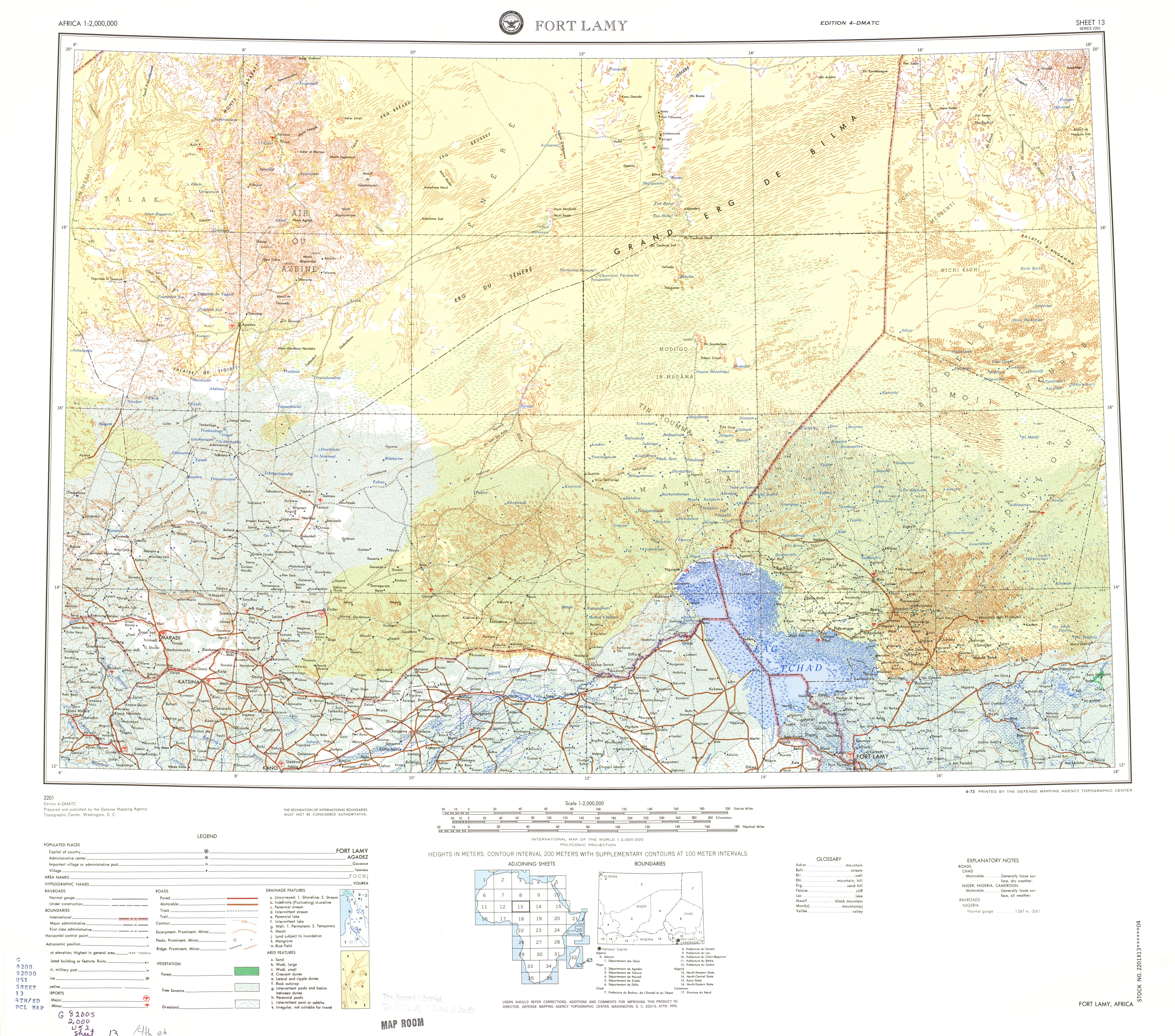 Fort Lamy Topographic Sheet Map, Africa 1973