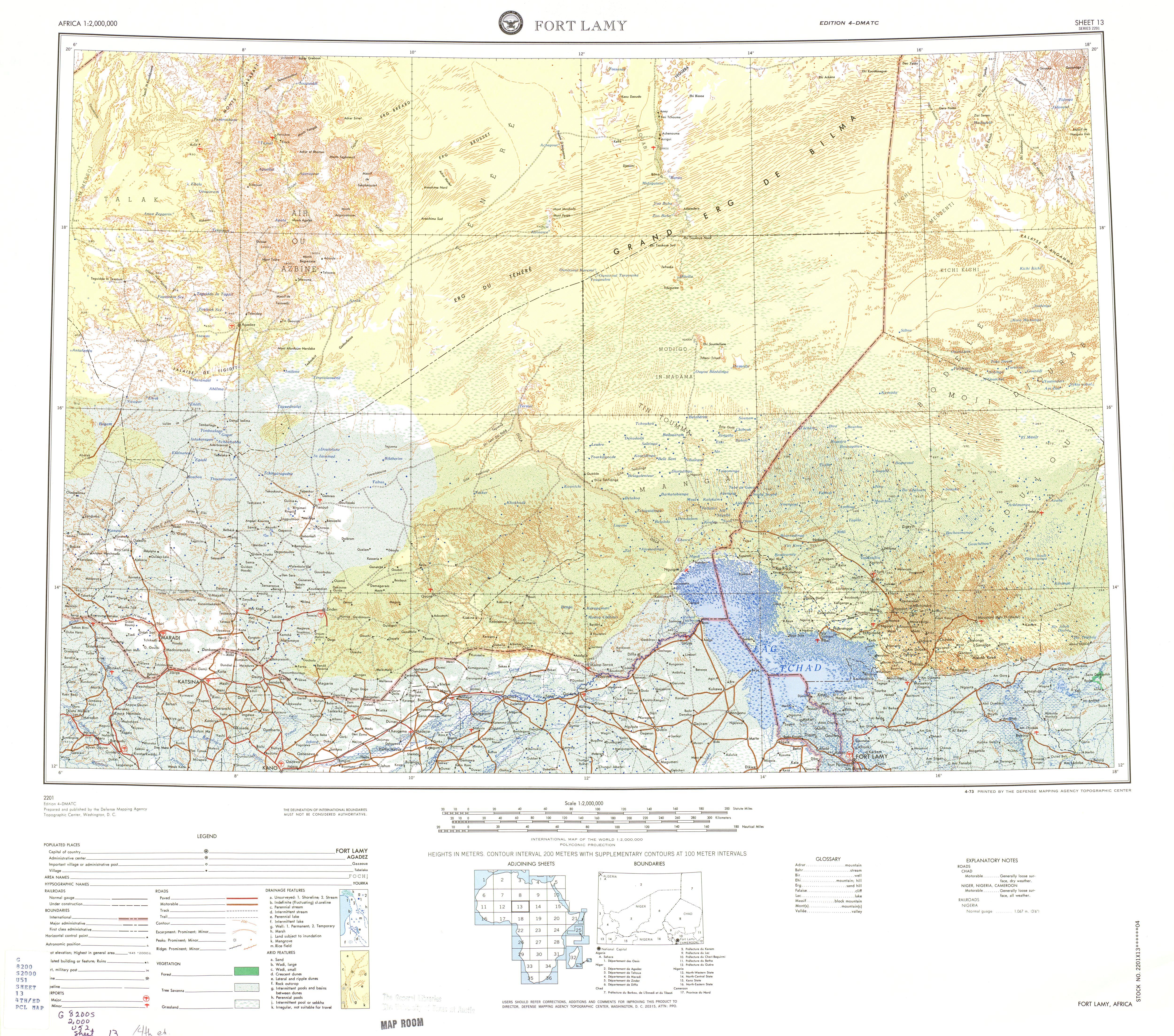 Hoja Fort Lamy del Mapa Topográfico de África 1973