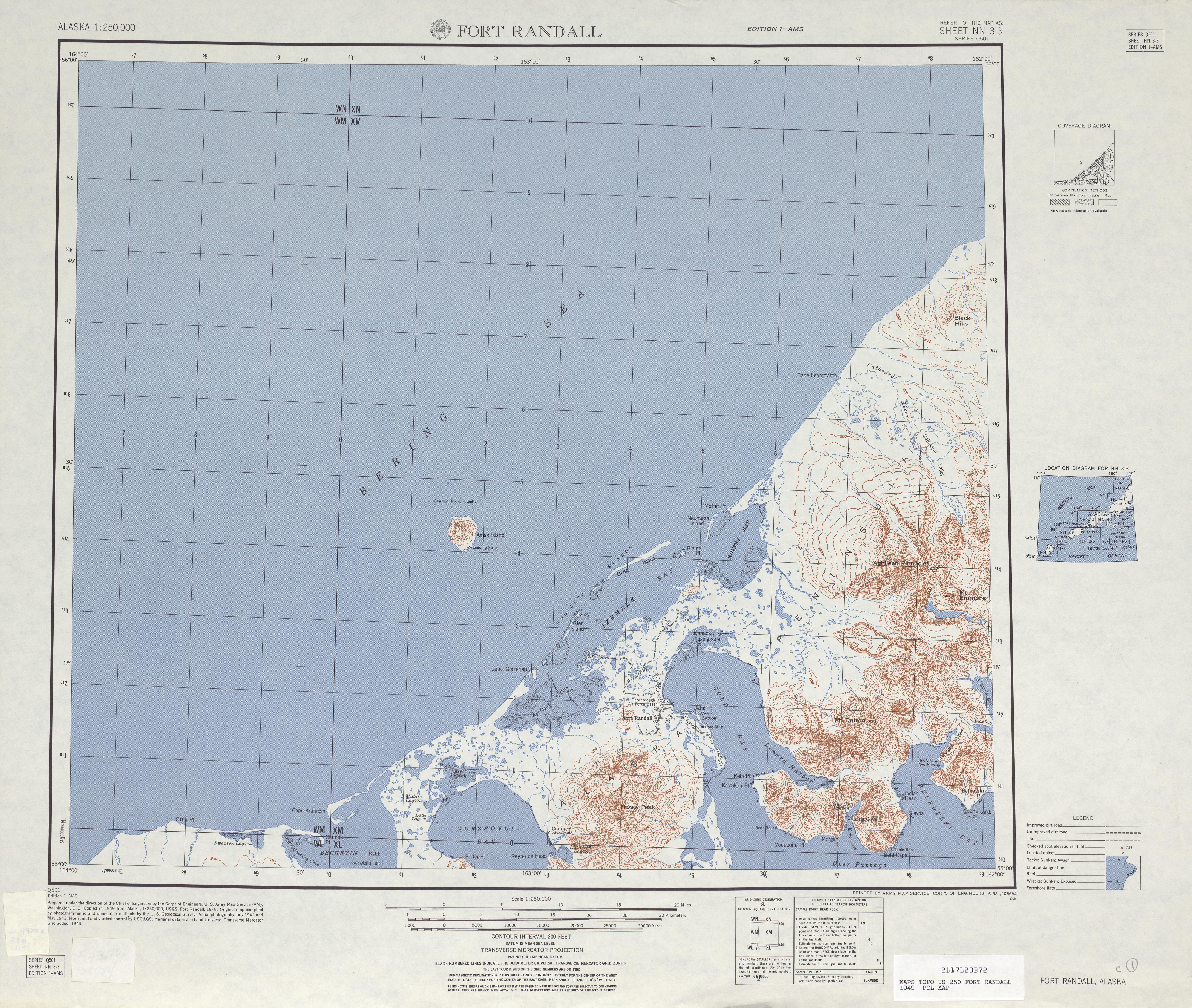 Hoja Fort Ryall del Mapa Topográfico de los Estados Unidos 1949