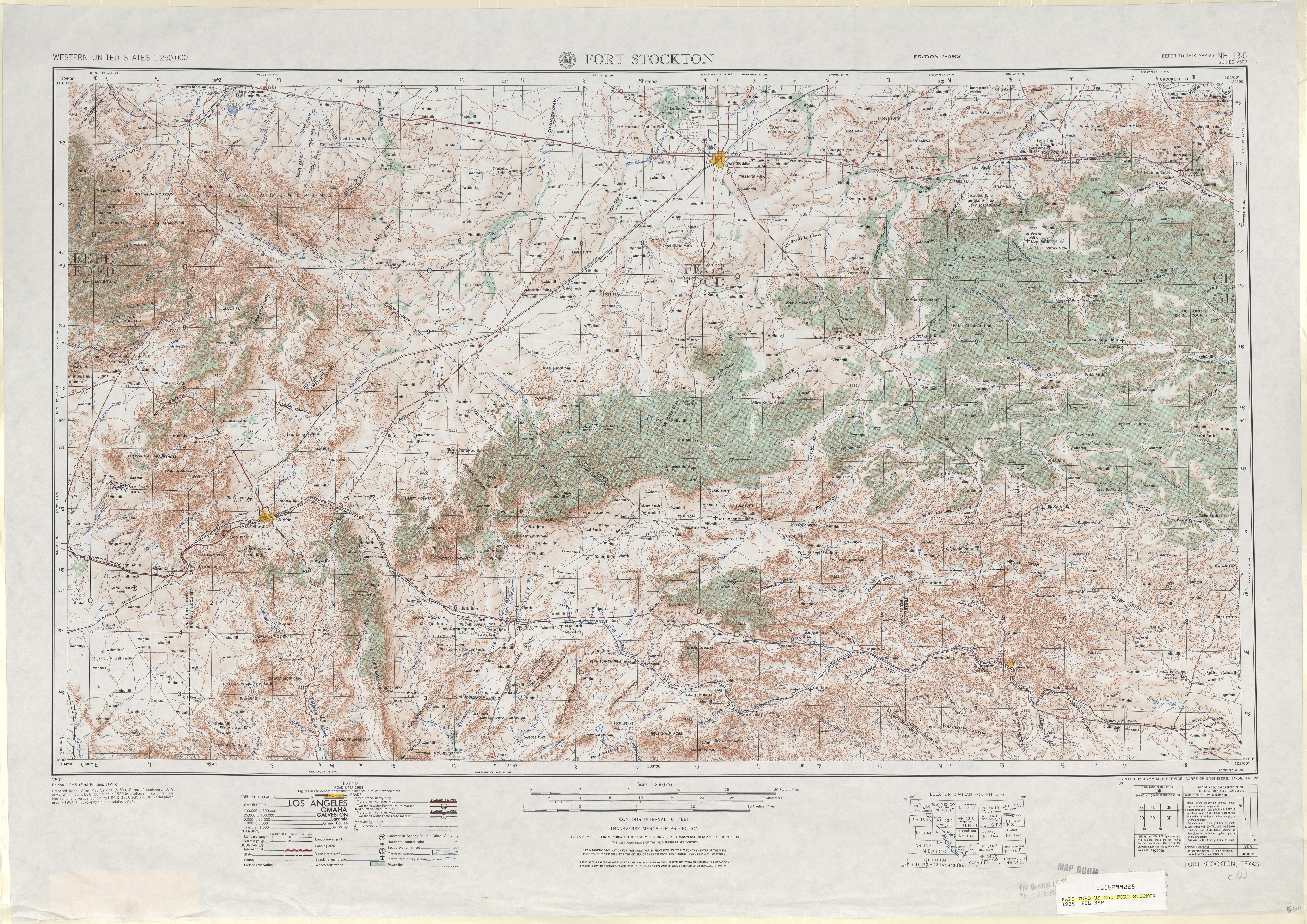 Hoja Fort Stockton del Mapa Topográfico de los Estados Unidos 1955
