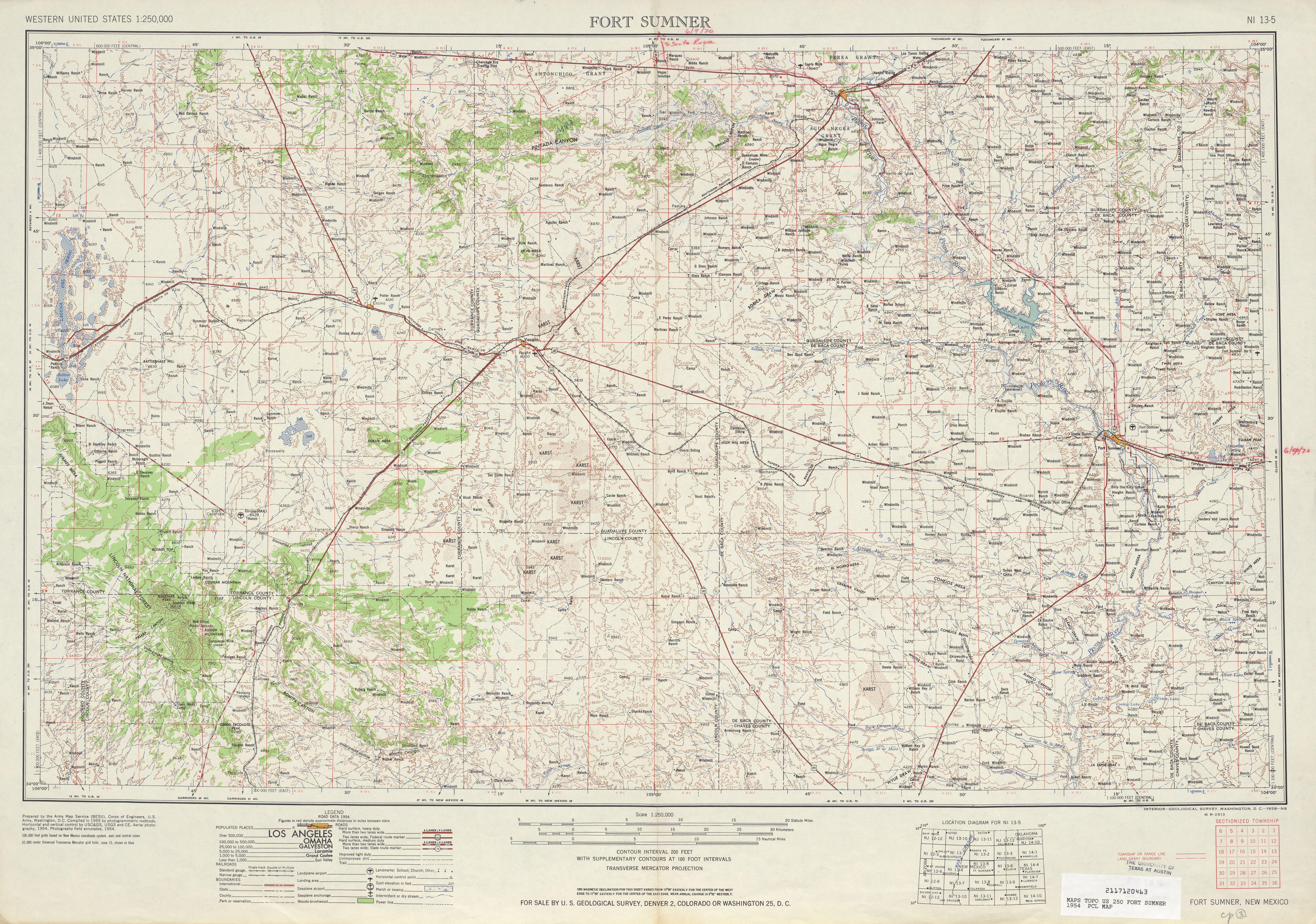Hoja Fort Sumner del Mapa Topográfico de los Estados Unidos 1954