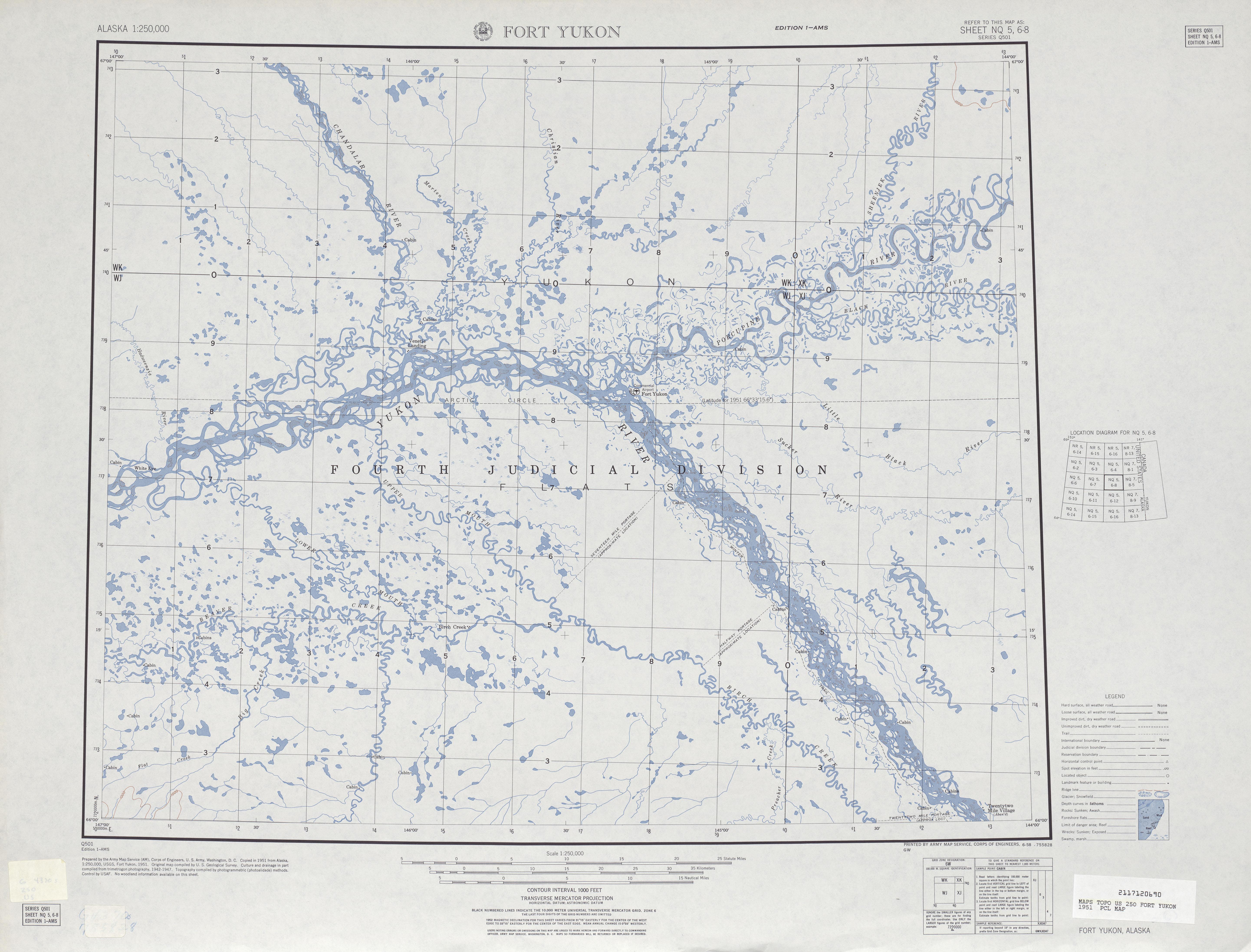 Hoja Fort Yukon del Mapa Topográfico de los Estados Unidos 1951