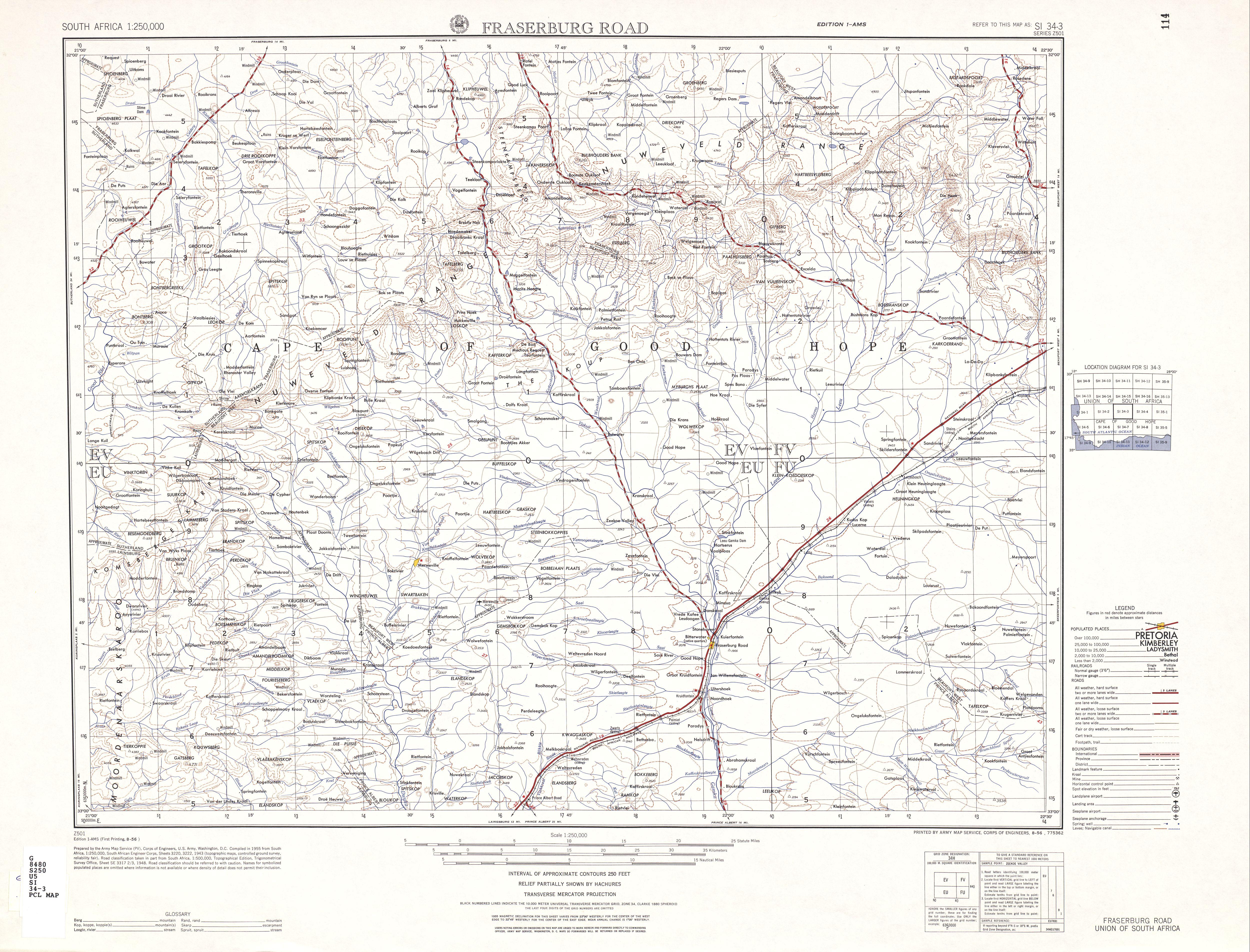 Hoja Fraserburg Road del Mapa Topográfico de África Meridional 1954