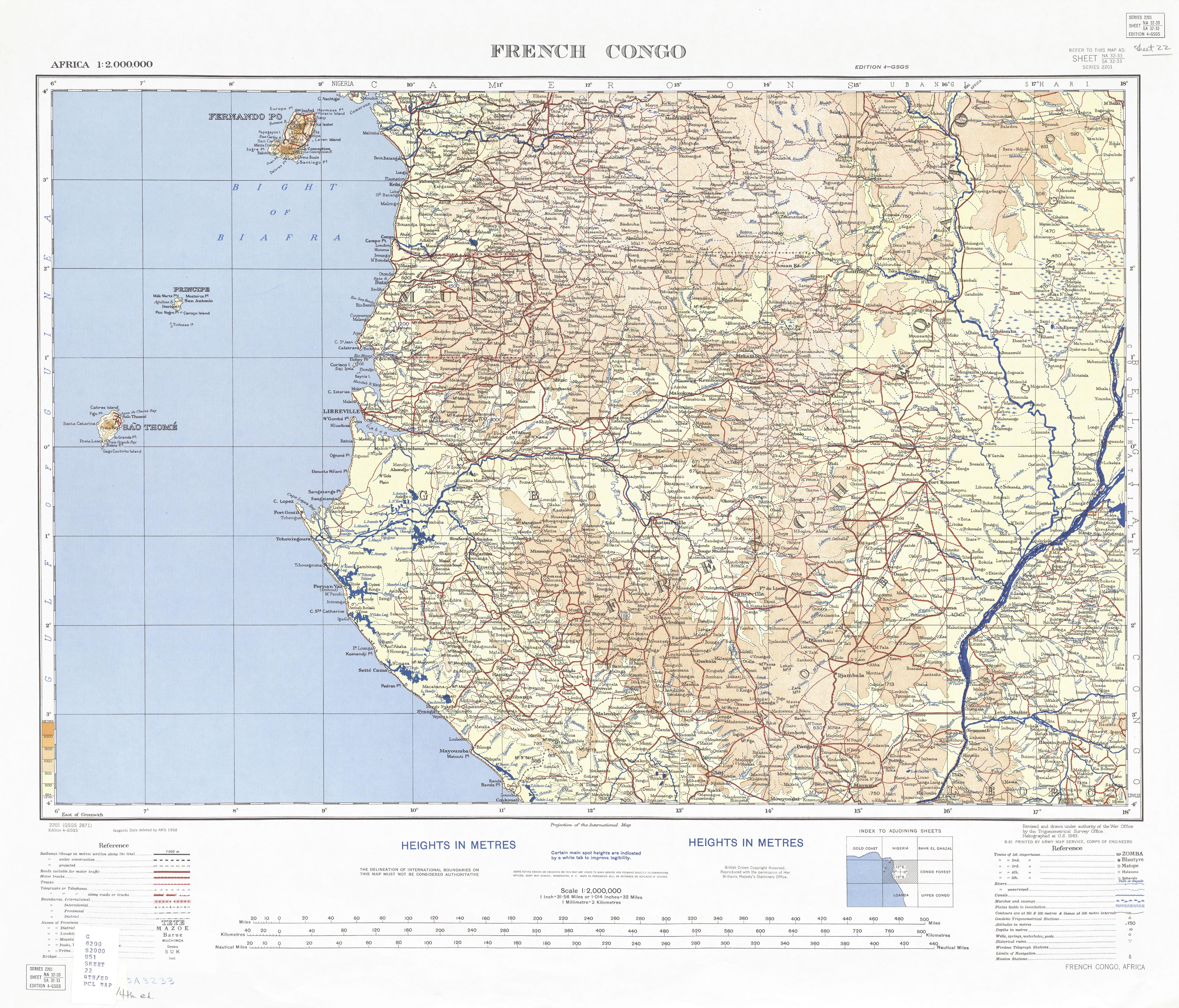 Hoja French Congo del Mapa Topográfo de África 1958