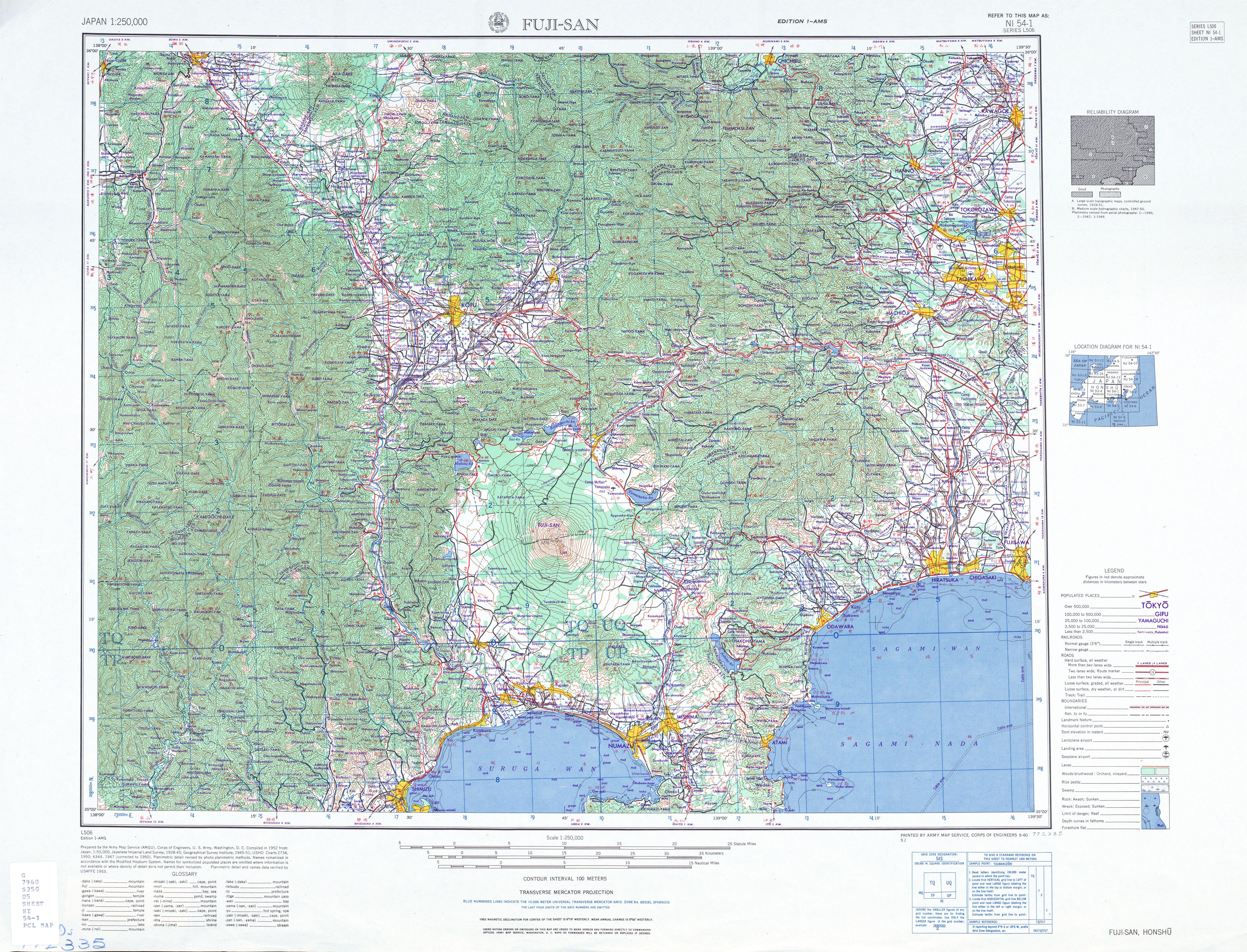 Hoja Fuji-San del Mapa Topográfico de Japón 1954