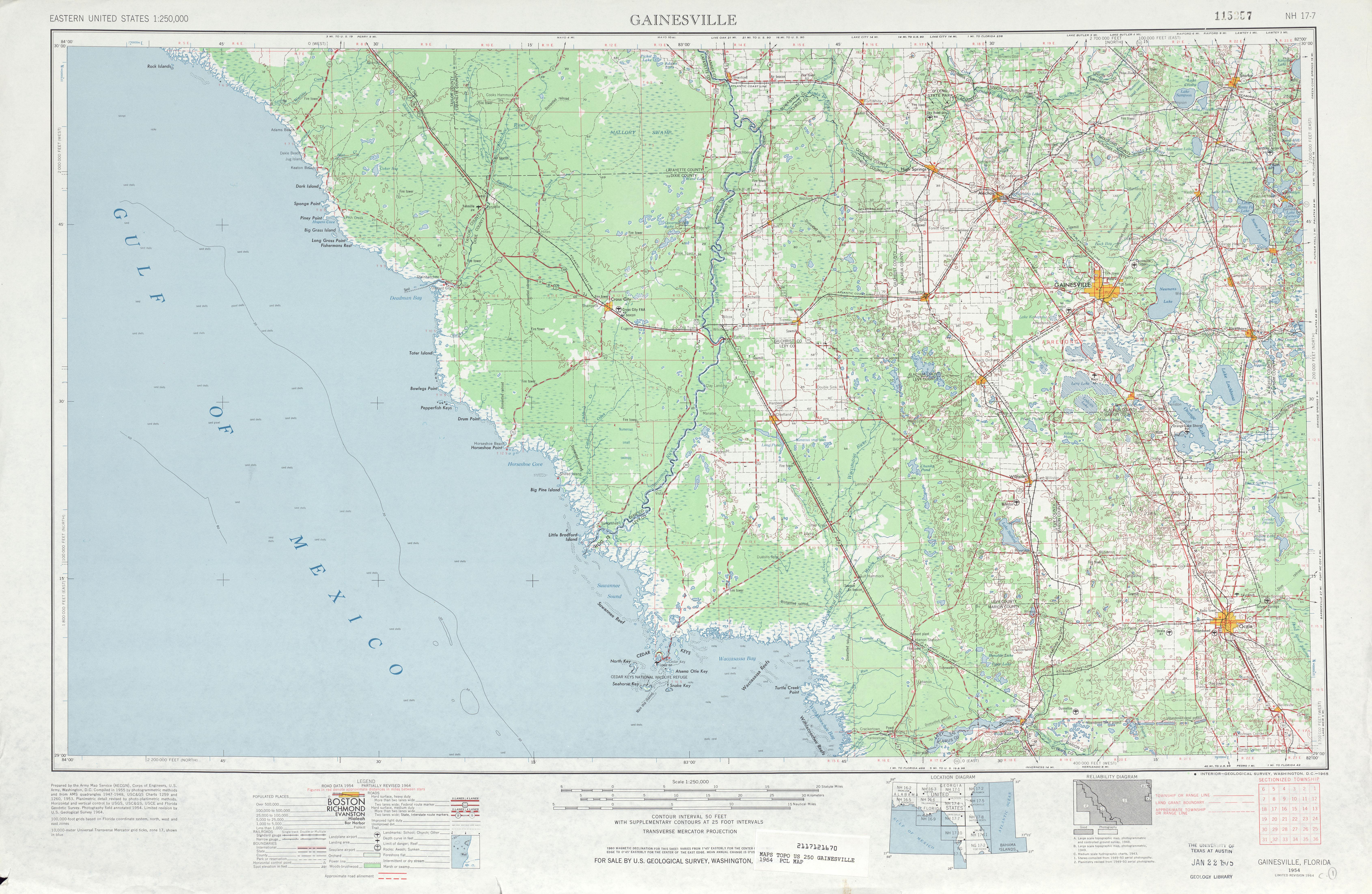 Hoja Gainesville del Mapa Topográfico de los Estados Unidos 1964