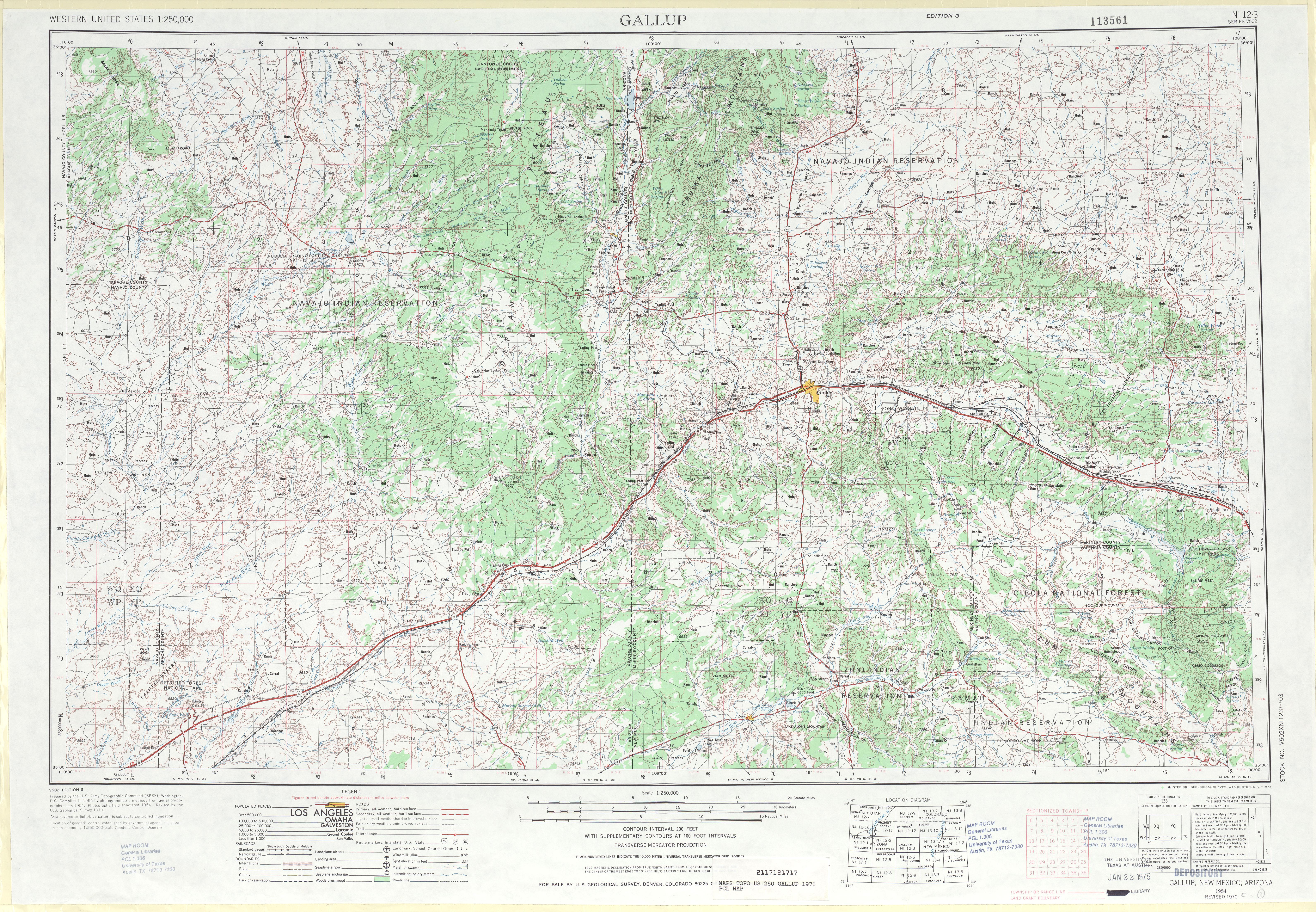 Hoja Gallup del Mapa Topográfico de los Estados Unidos 1970