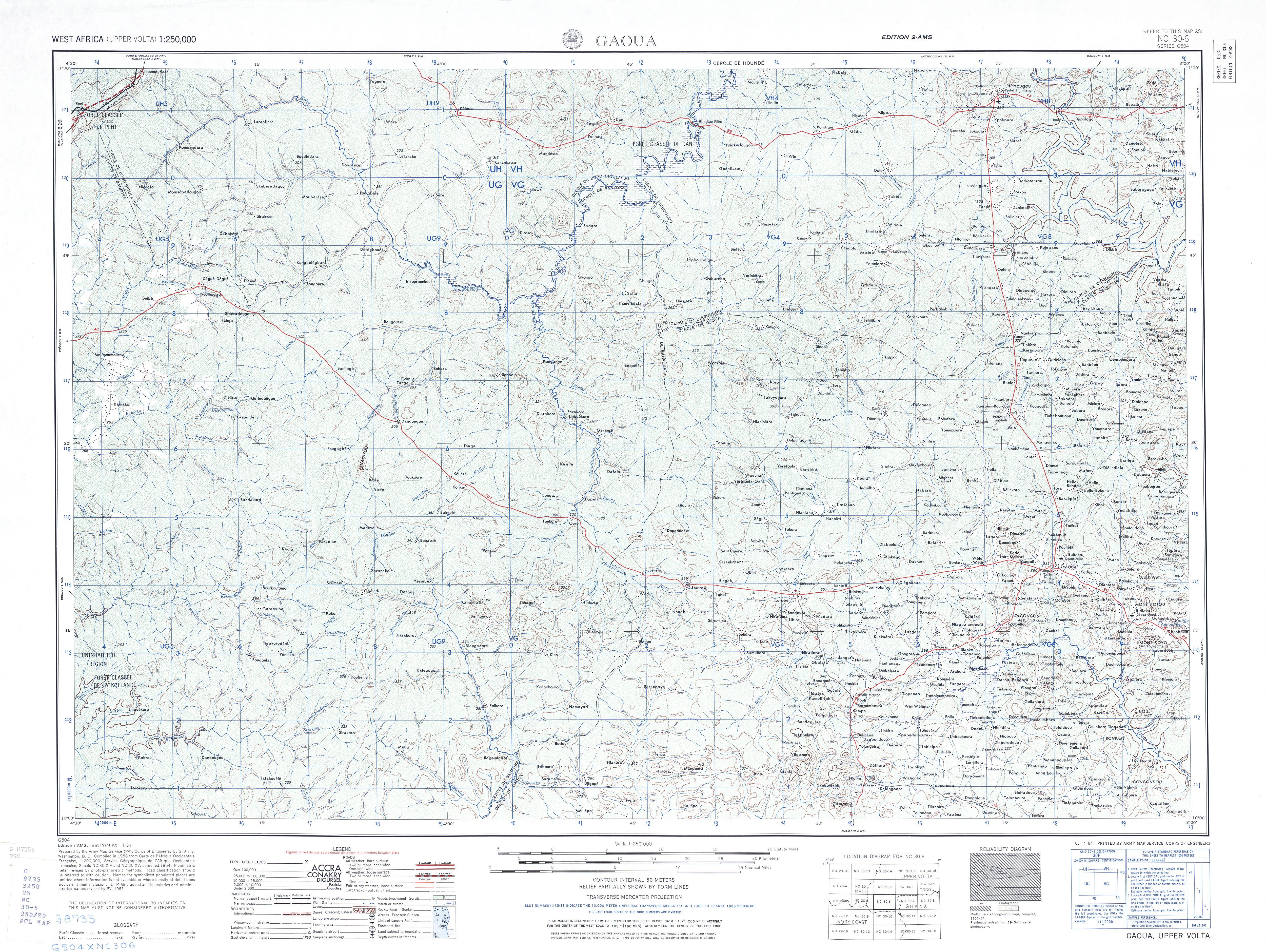 Gaoua Topographic Map Sheet, Western Africa 1955