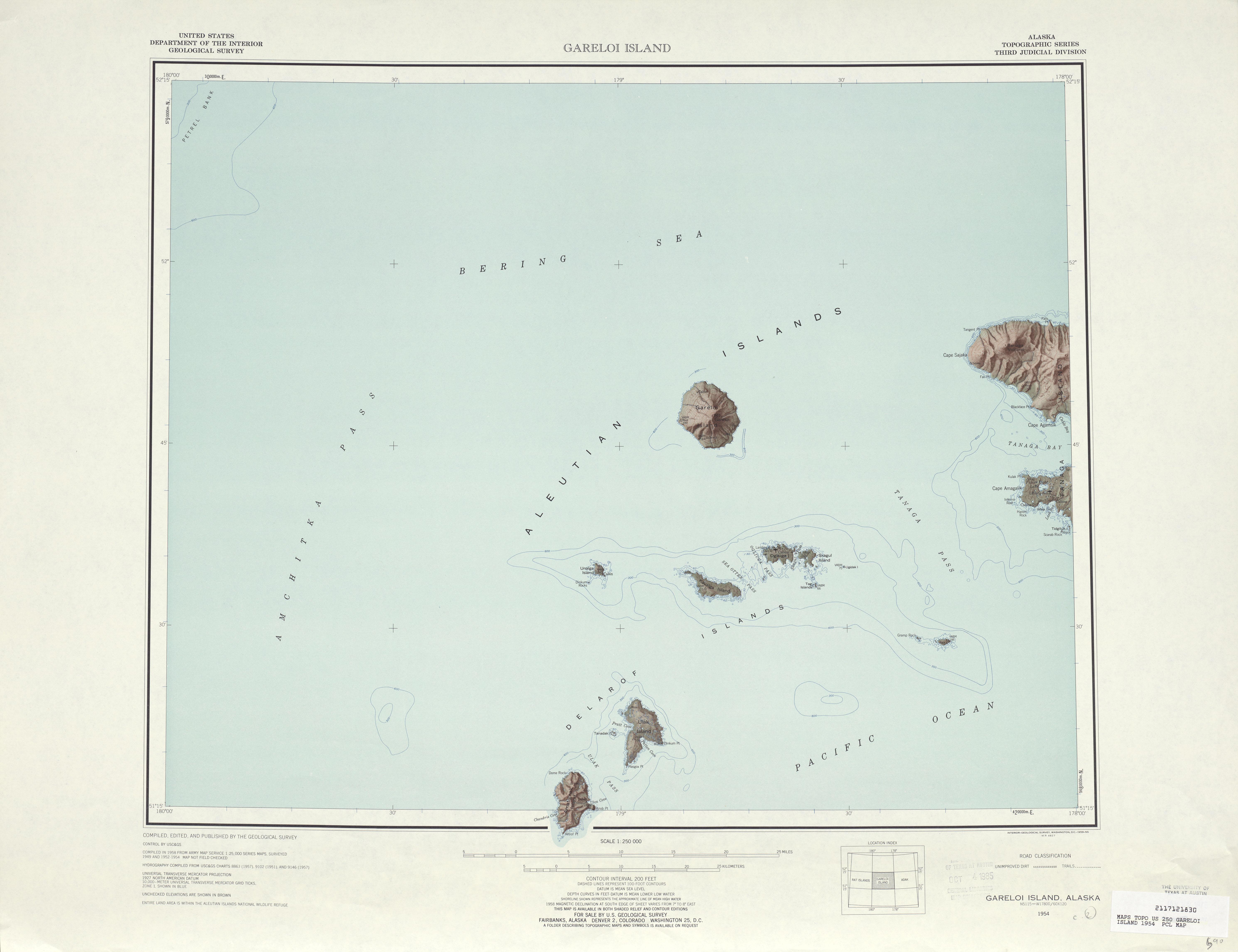 Hoja Gareloi Island del Mapa Topográfico de los Estados Unidos 1954