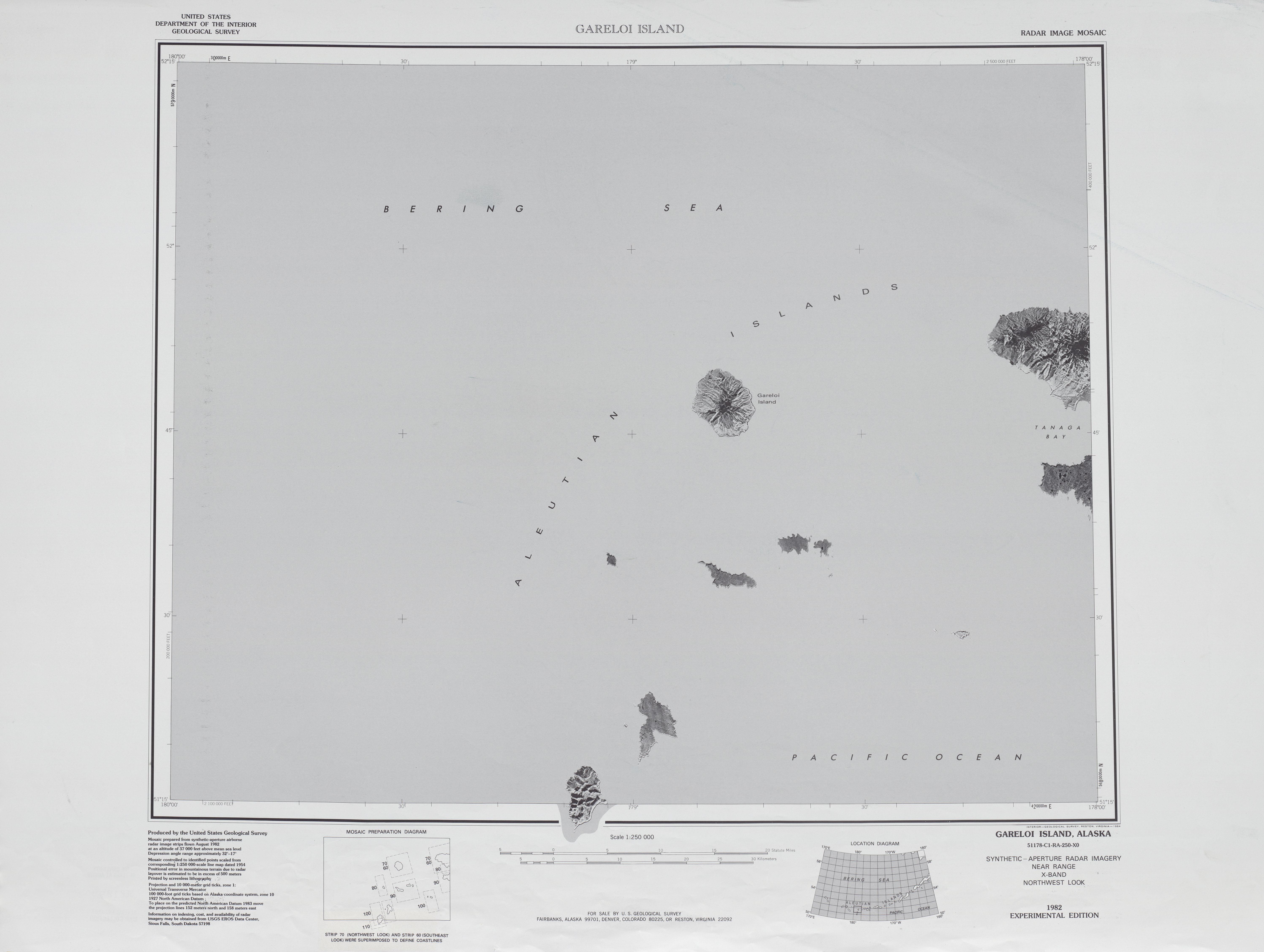 Gareloi Island Radar Image Mosaic Sheet, United States 1983