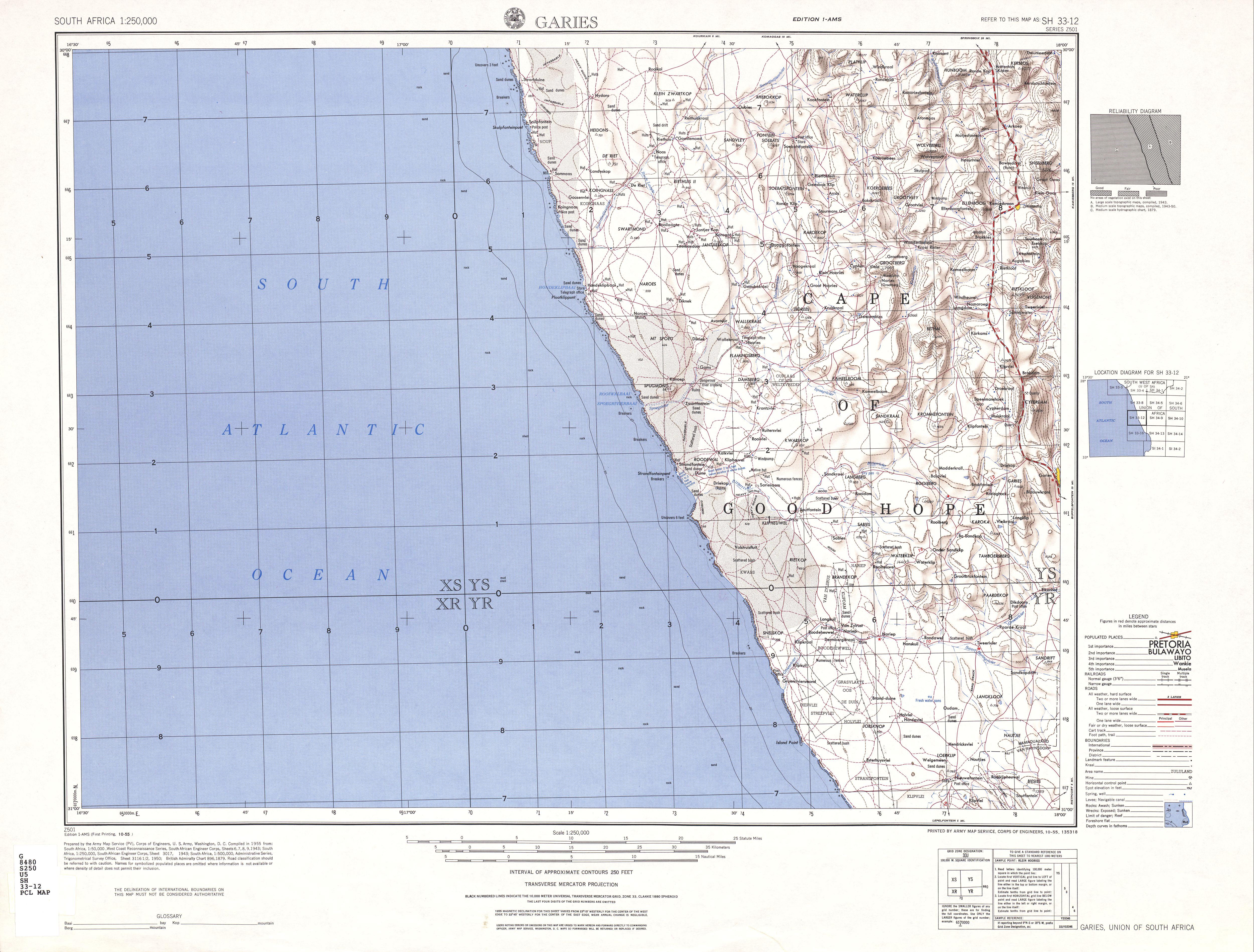 Hoja Garies del Mapa Topográfico de África Meridional 1954