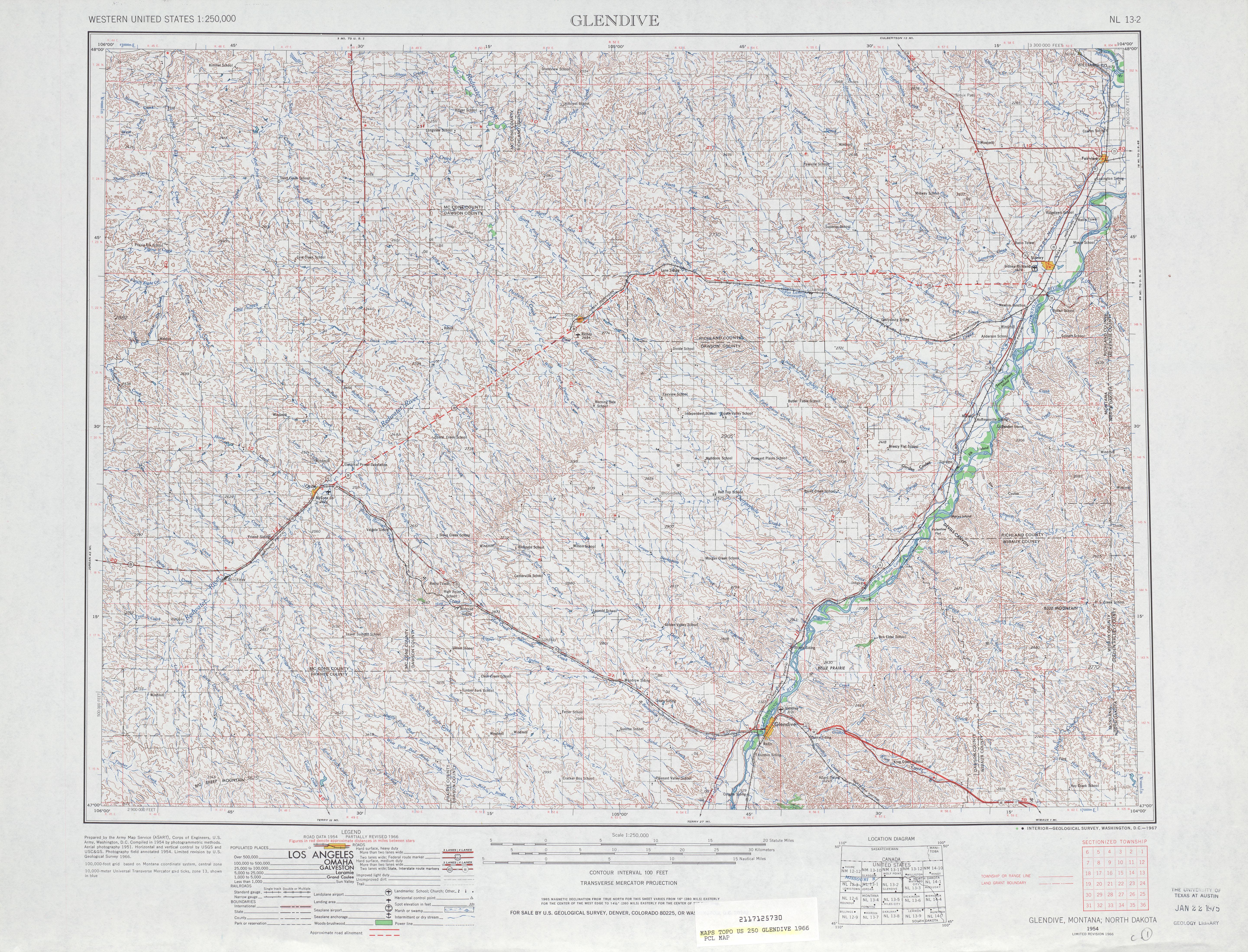 Hoja Glendive del Mapa Topográfico de los Estados Unidos 1966