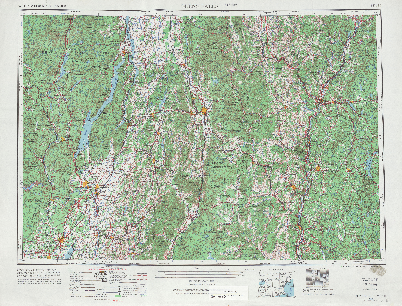 Hoja Glens Falls del Mapa Topográfico de los Estados Unidos 1967