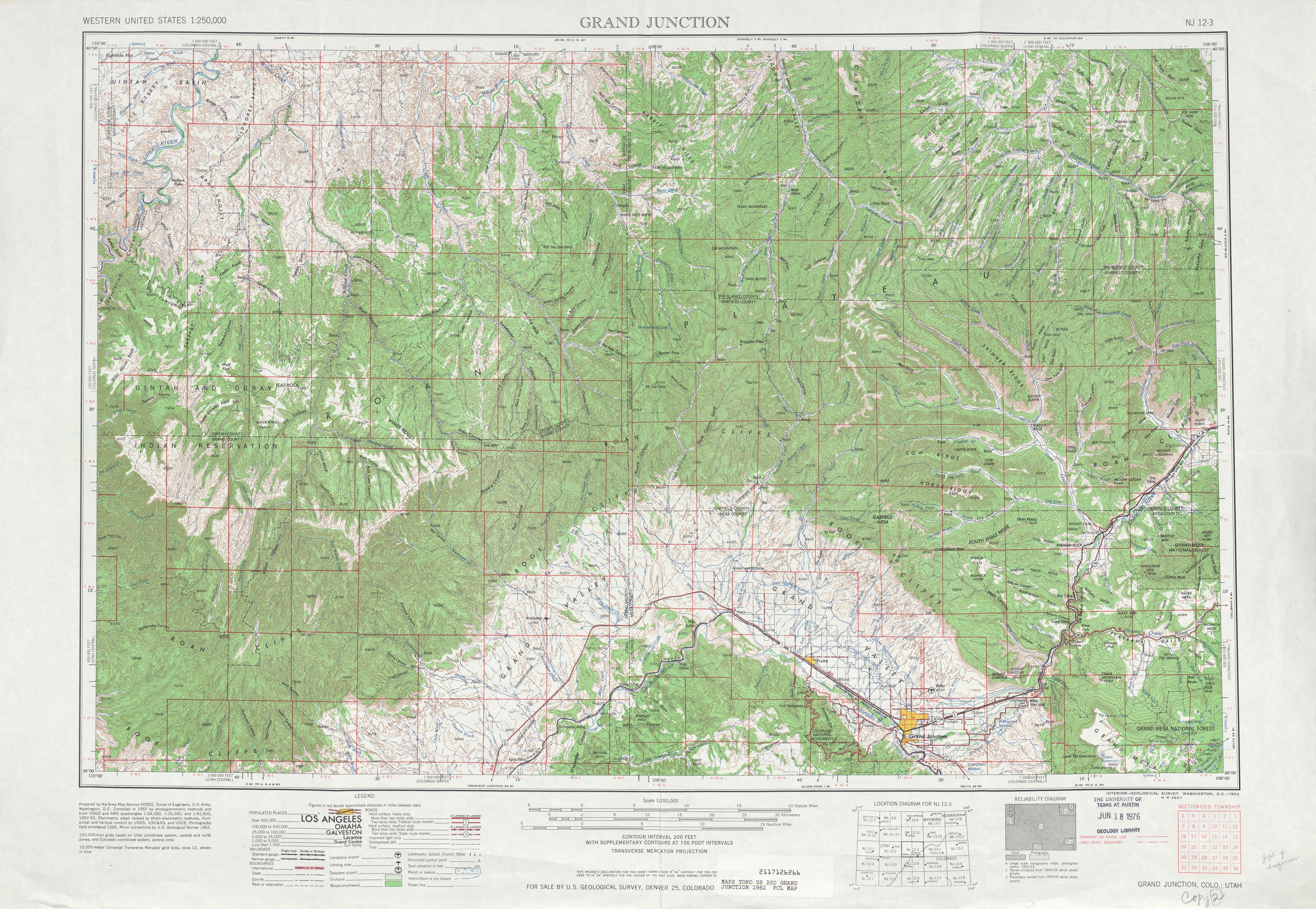 Hoja Grand Junction del Mapa Topográfico de los Estados Unidos 1962