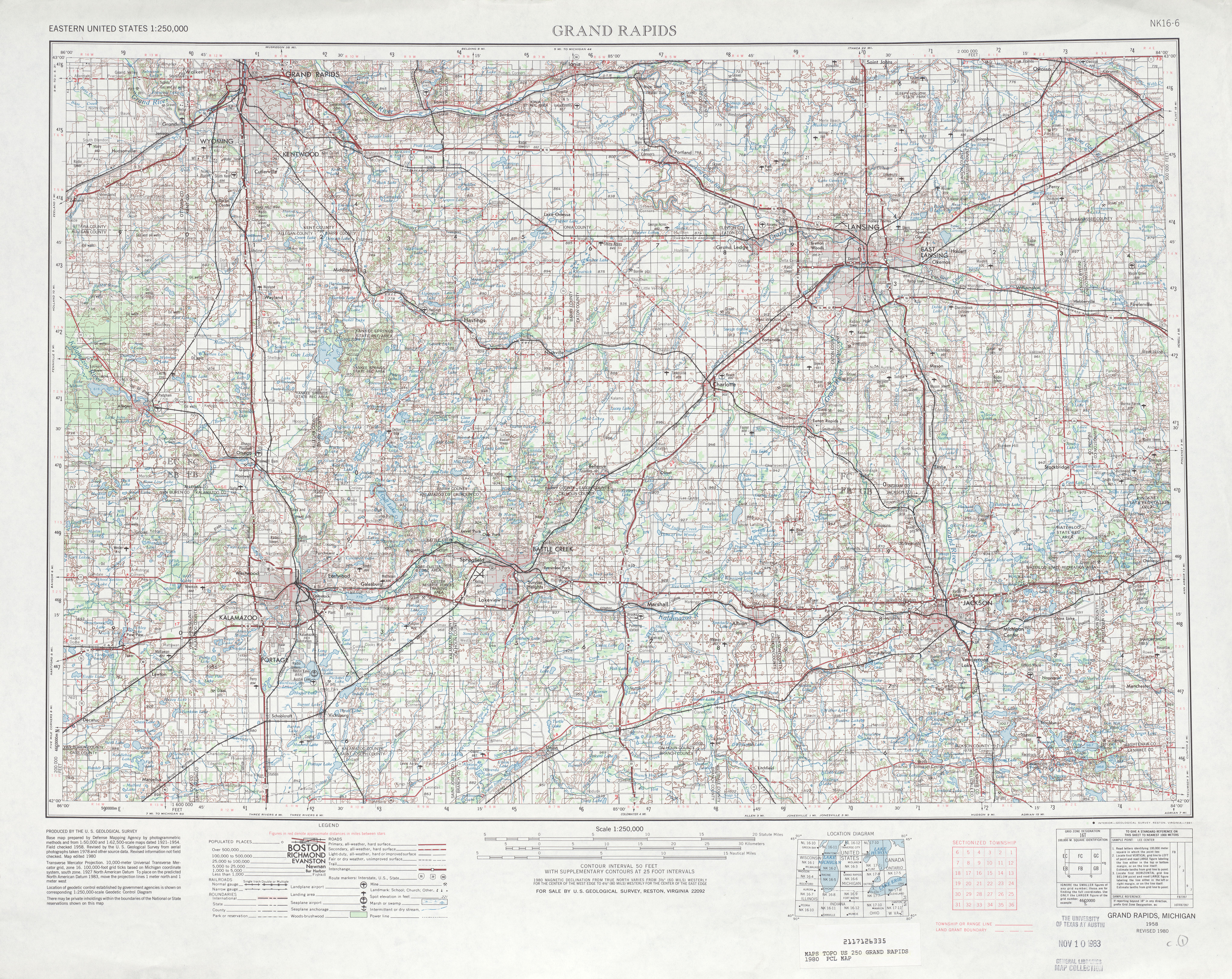 Grand Rapids Topographic Map Sheet, United States 1980