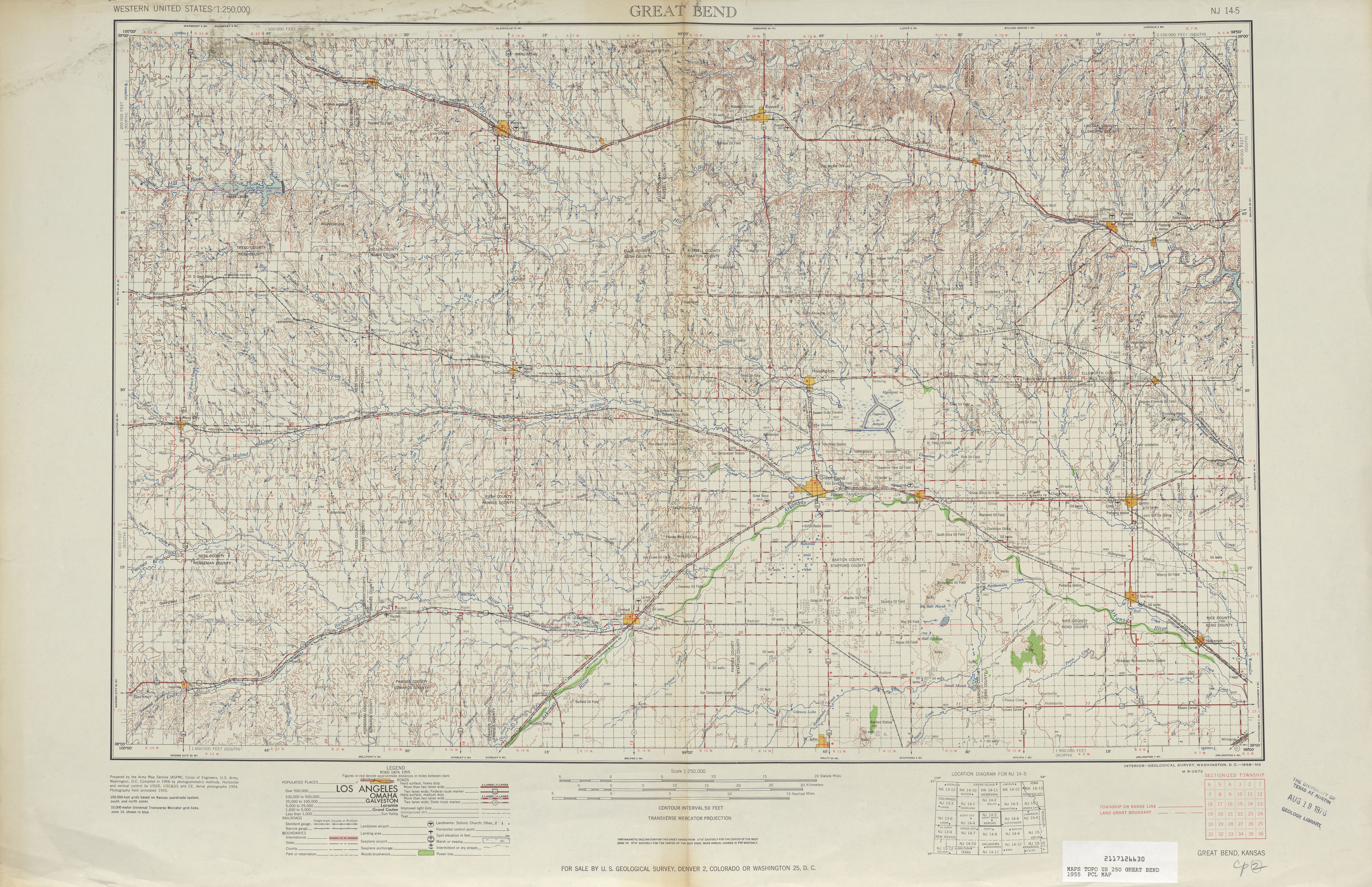 Great Bend Topographic Map Sheet, United States 1955