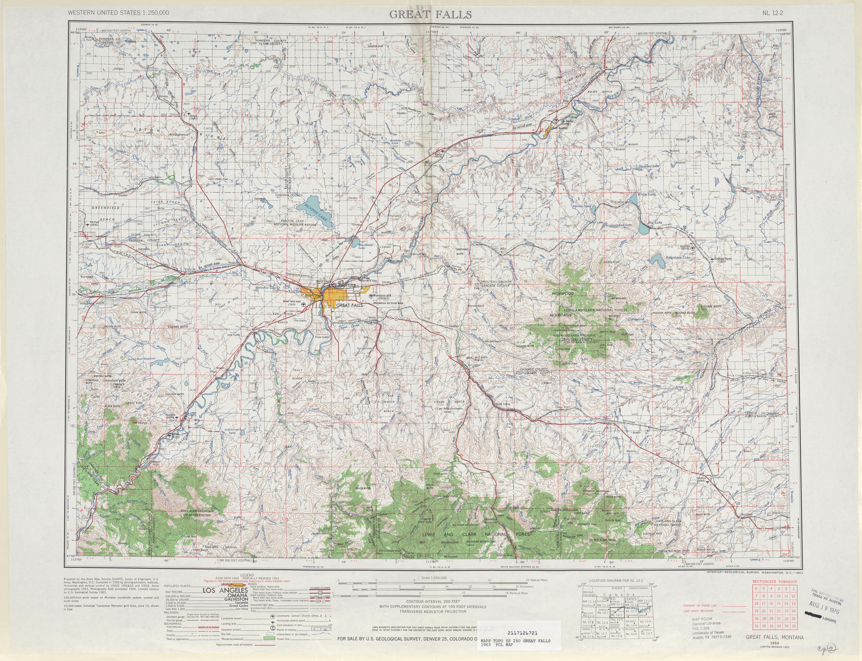 Hoja Great Falls del Mapa Topográfico de los Estados Unidos 1963
