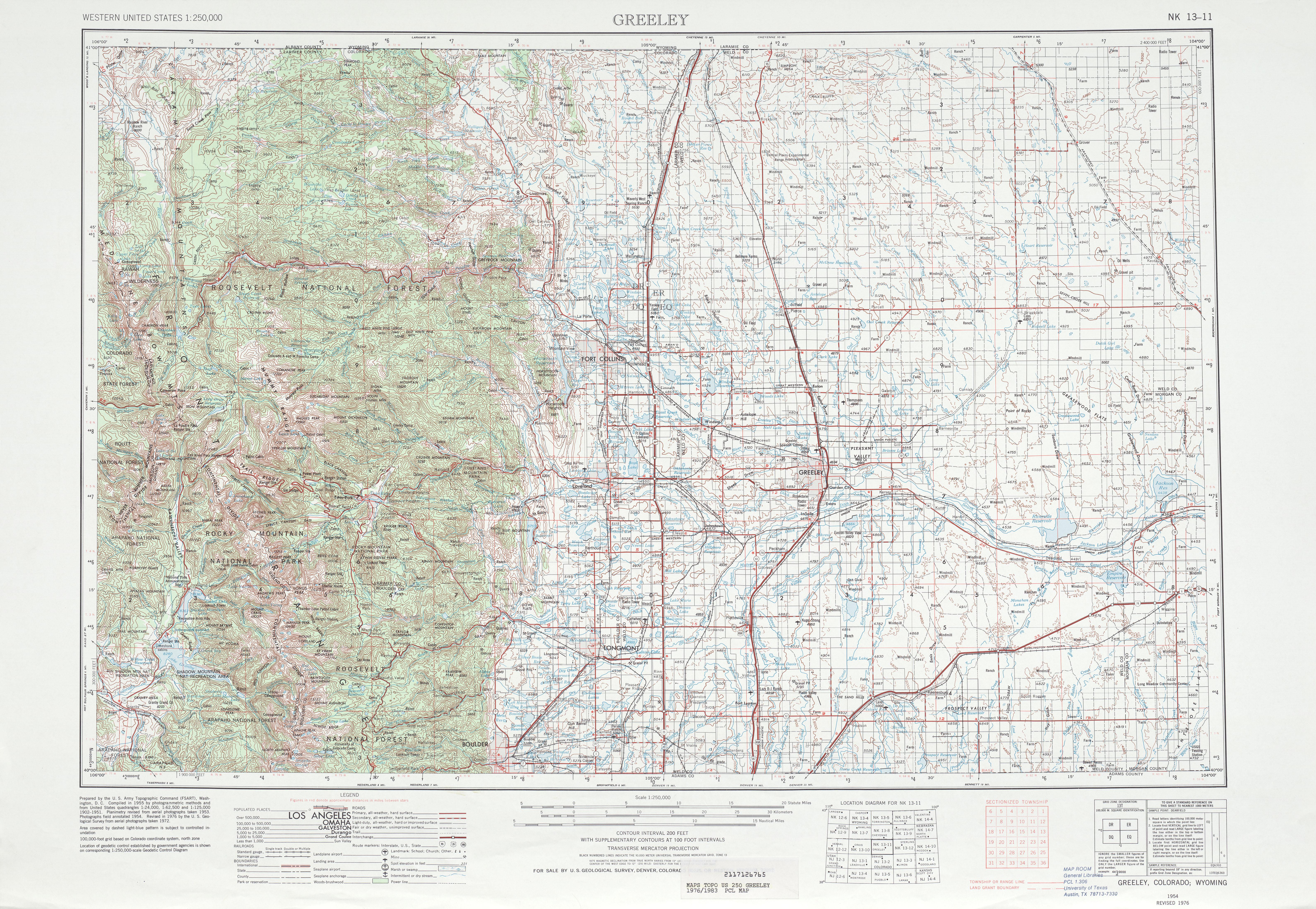 Hoja Greeley del Mapa Topográfico de los Estados Unidos 1976