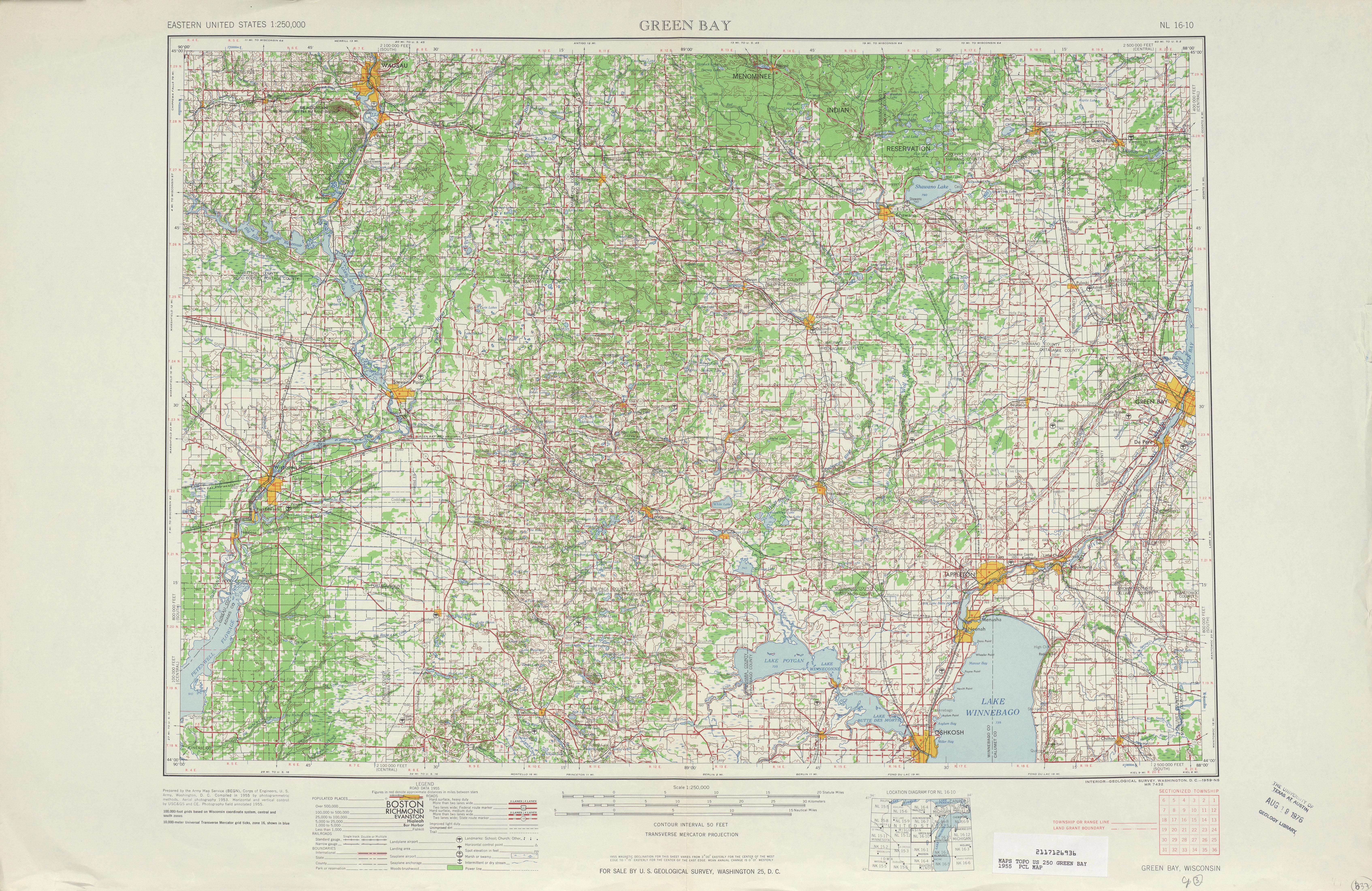 Hoja Green Bay del Mapa Topográfico de los Estados Unidos 1955