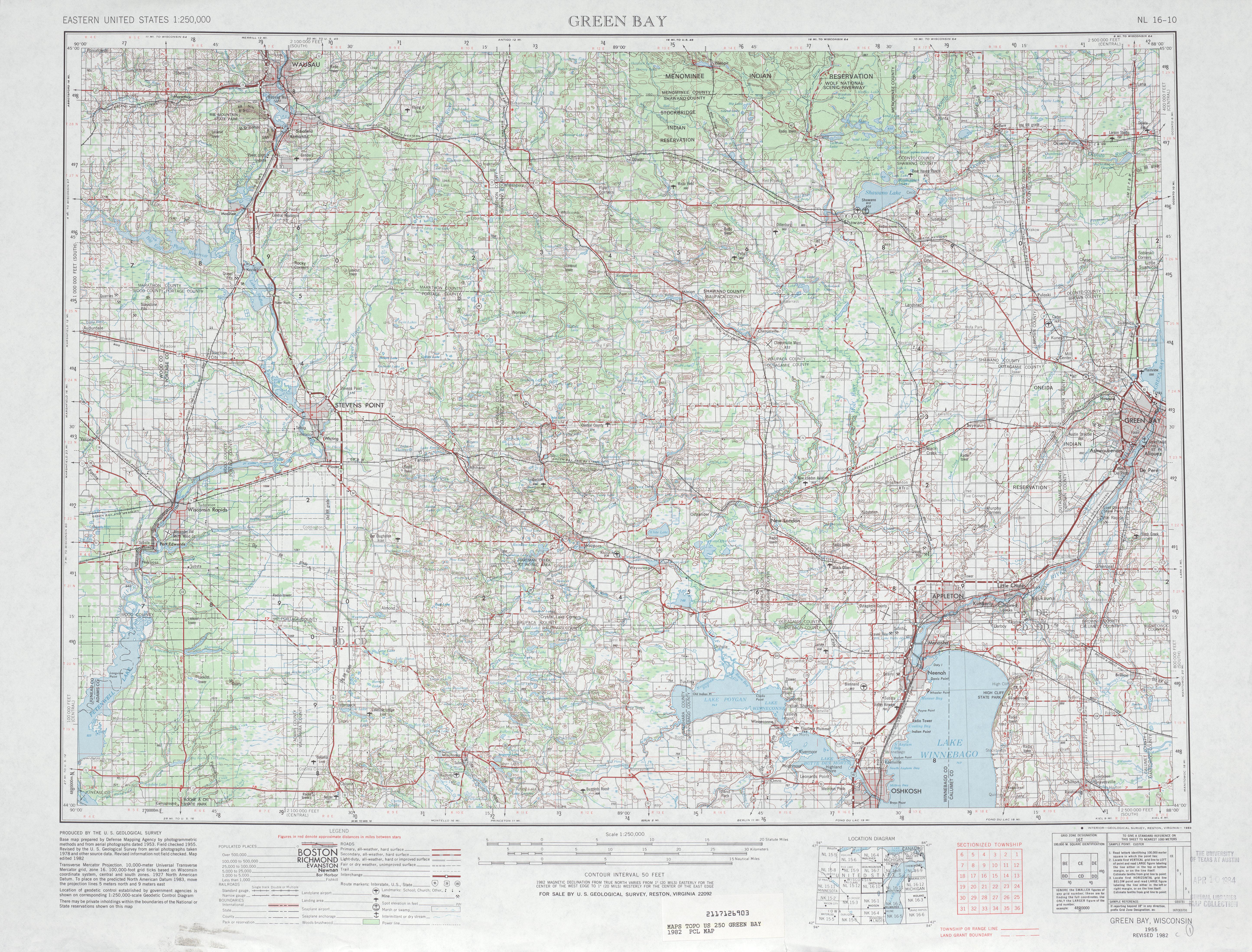 Hoja Green Bay del Mapa Topográfico de los Estados Unidos 1982
