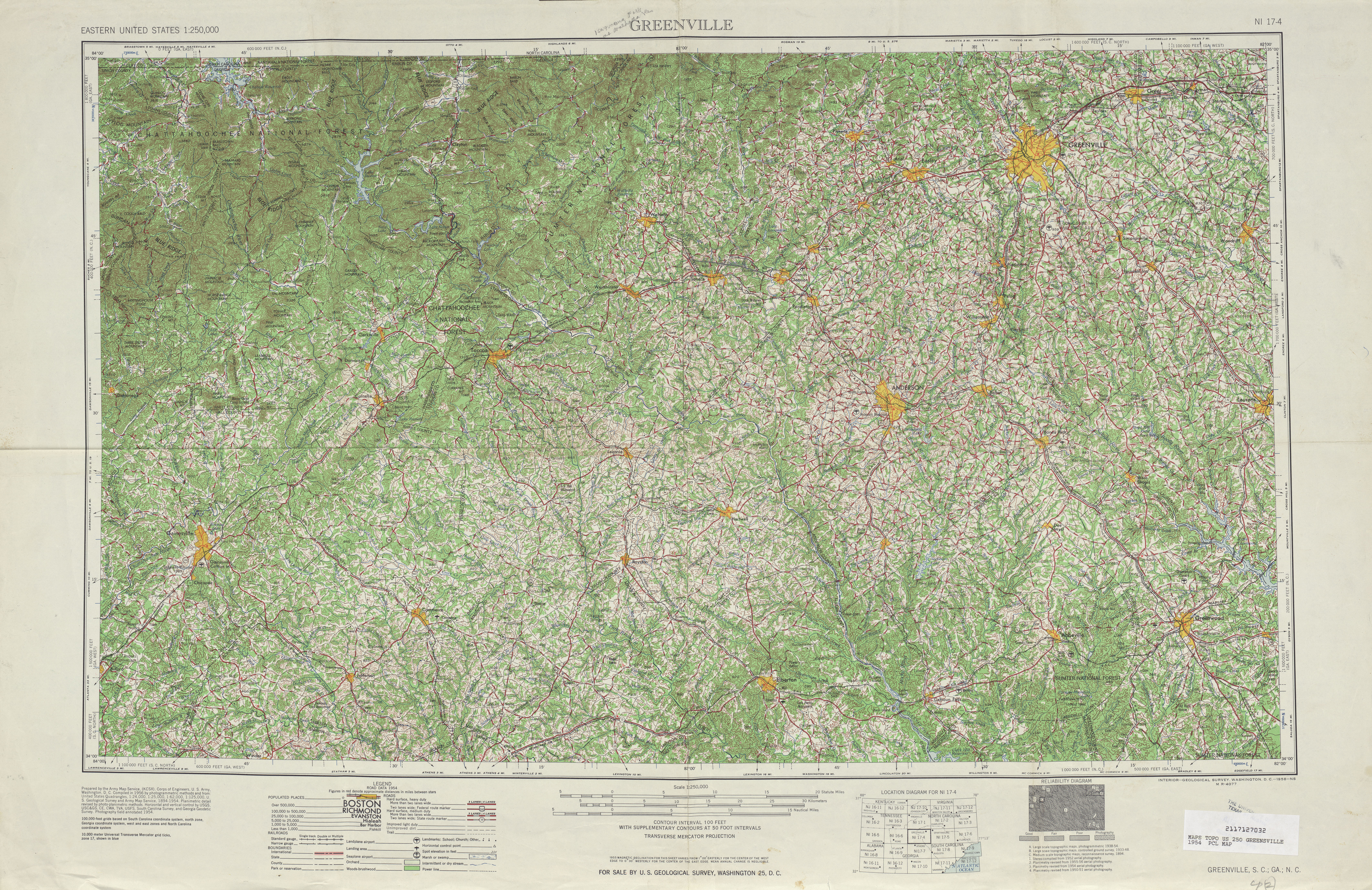Greenville Topographic Map Sheet, United States 1954