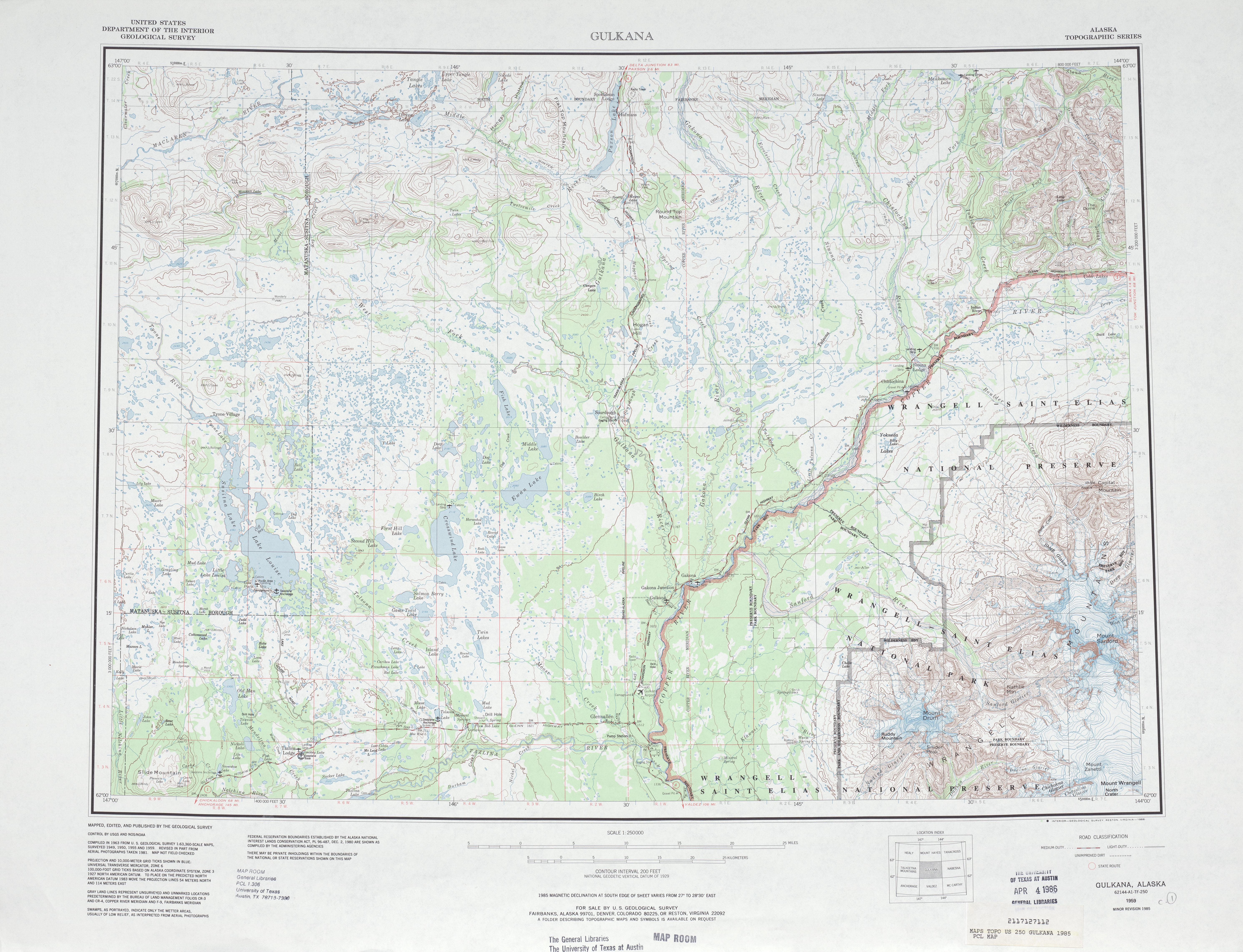 Hoja Gulkana del Mapa Topográfico de los Estados Unidos 1985
