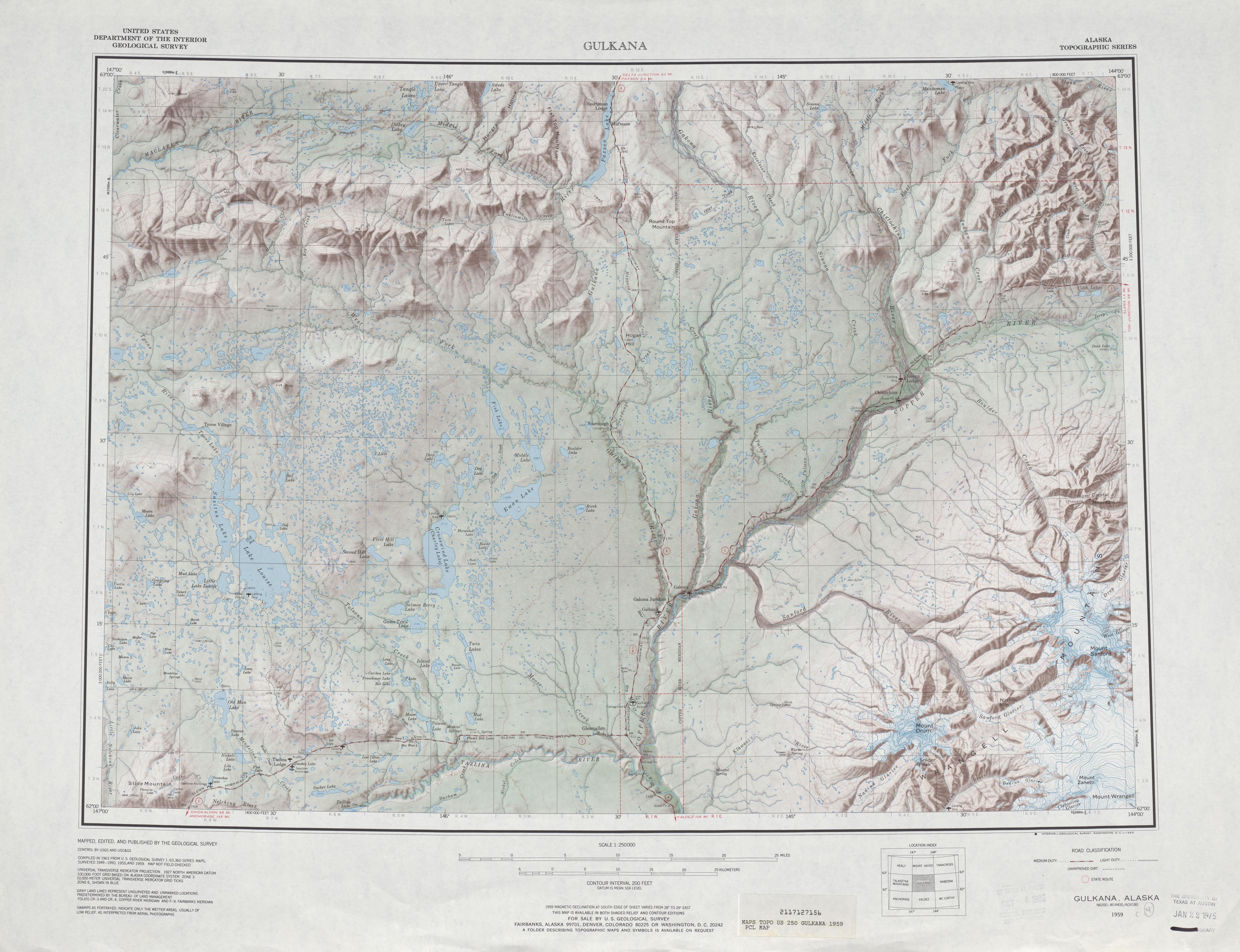 Hoja Gulkana del Mapa de Relieve Sombreado de los Estados Unidos 1959