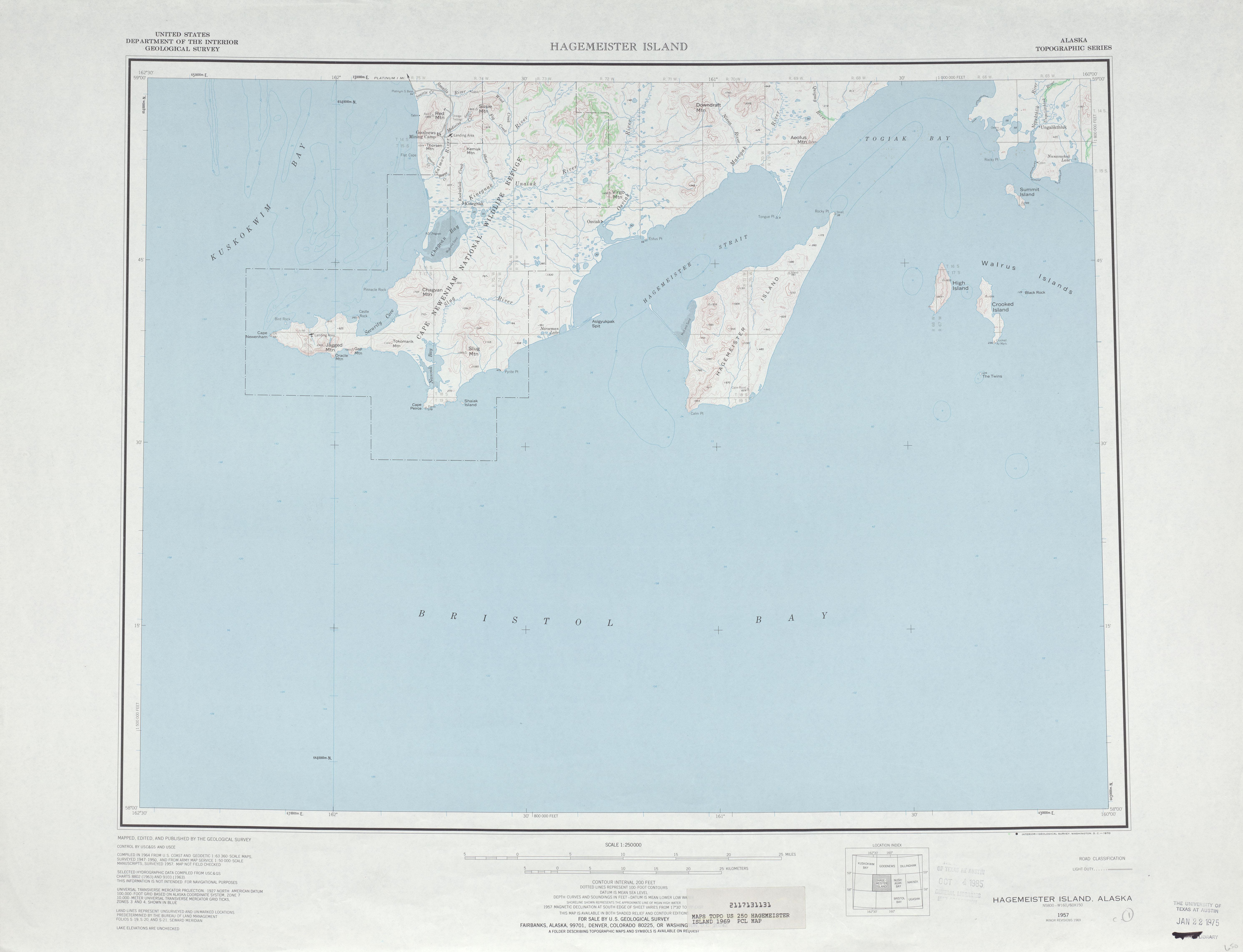 Hagemaster Island Topographic Map Sheet, United States 1969